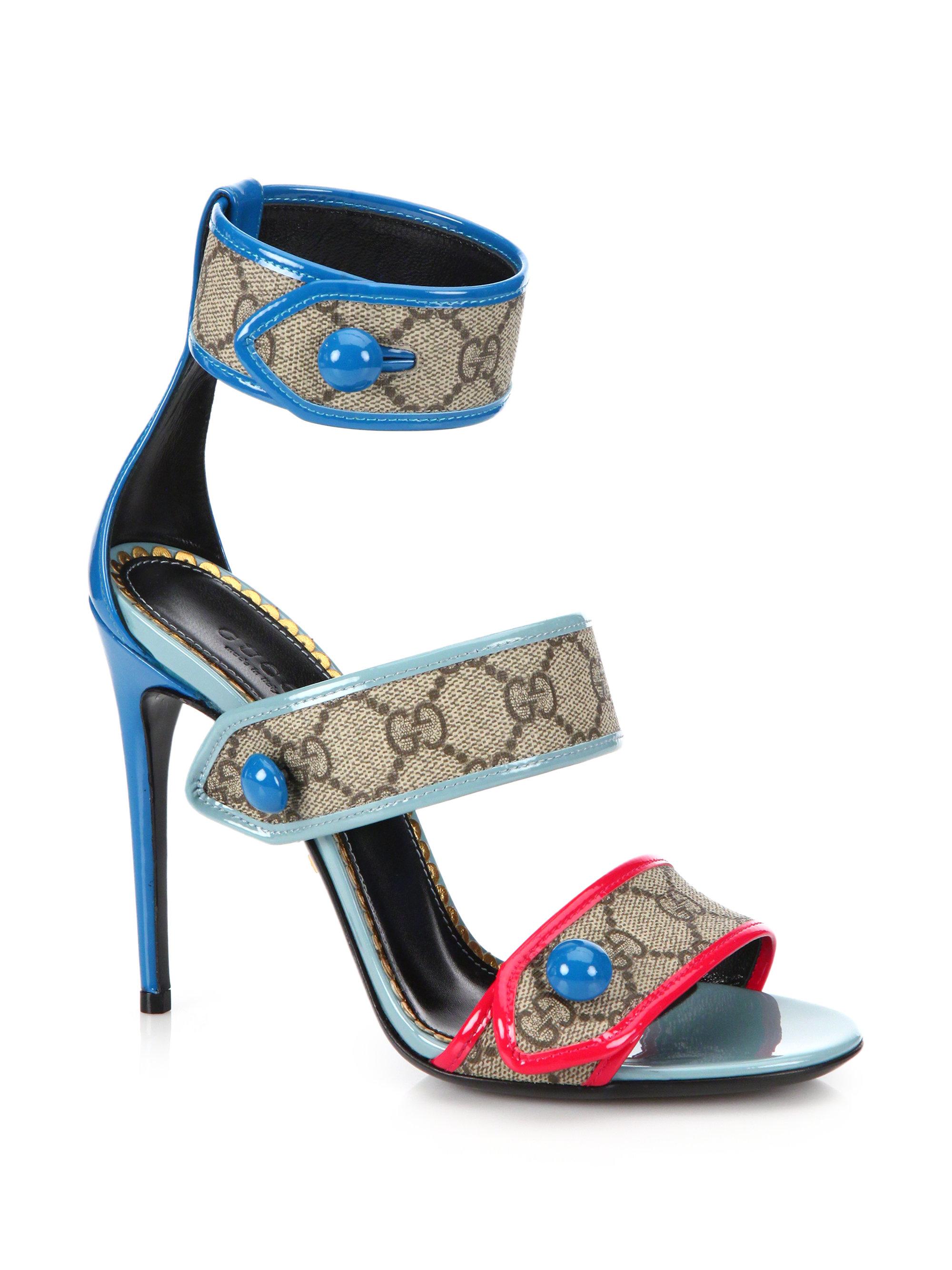 9972f6e58cada Gucci Harleth GG Patent-Leather Sandals - Lyst