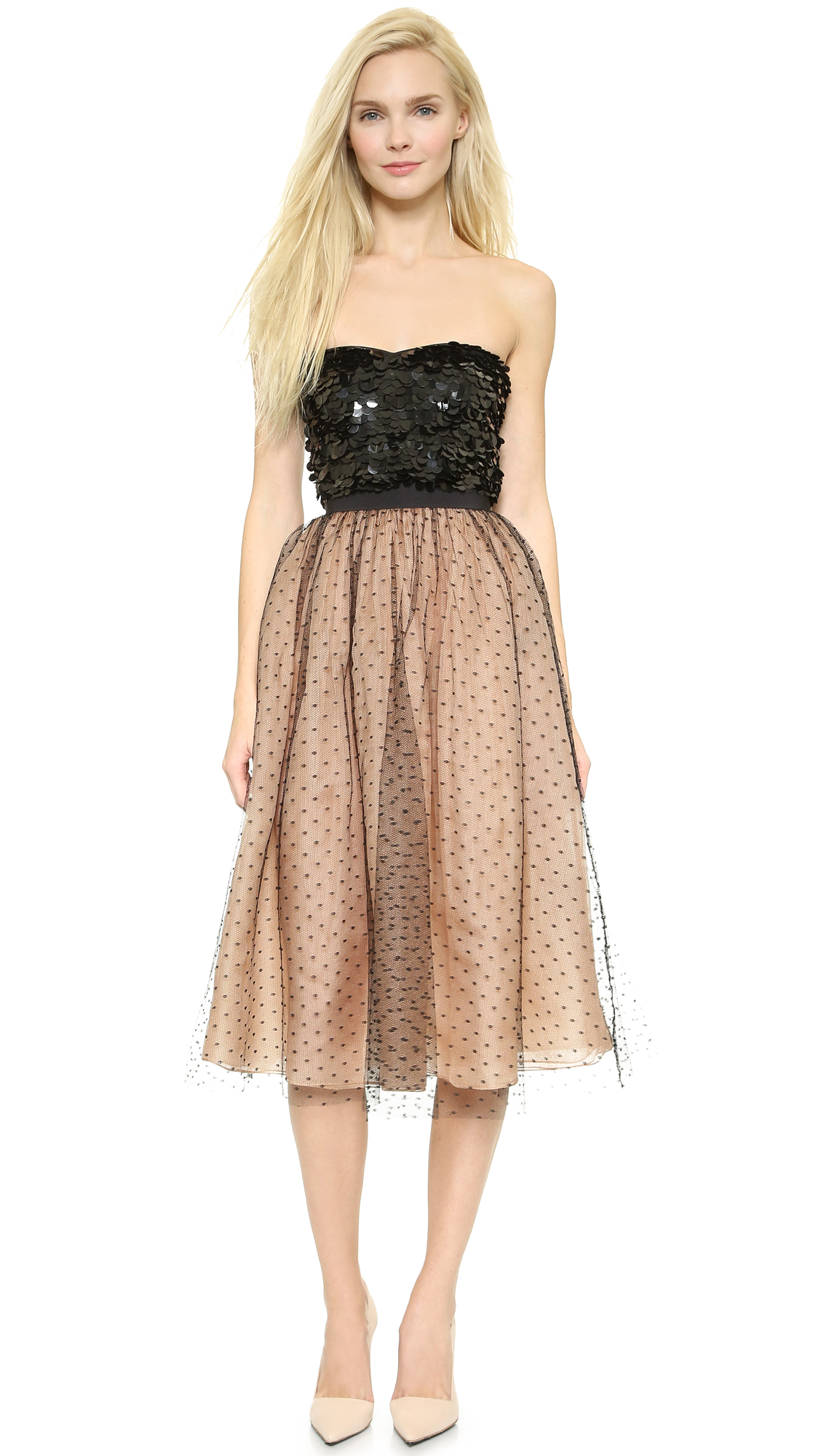 Red Valentino Spring 2016: Red Valentino Sequin Embellished Strapless Dress