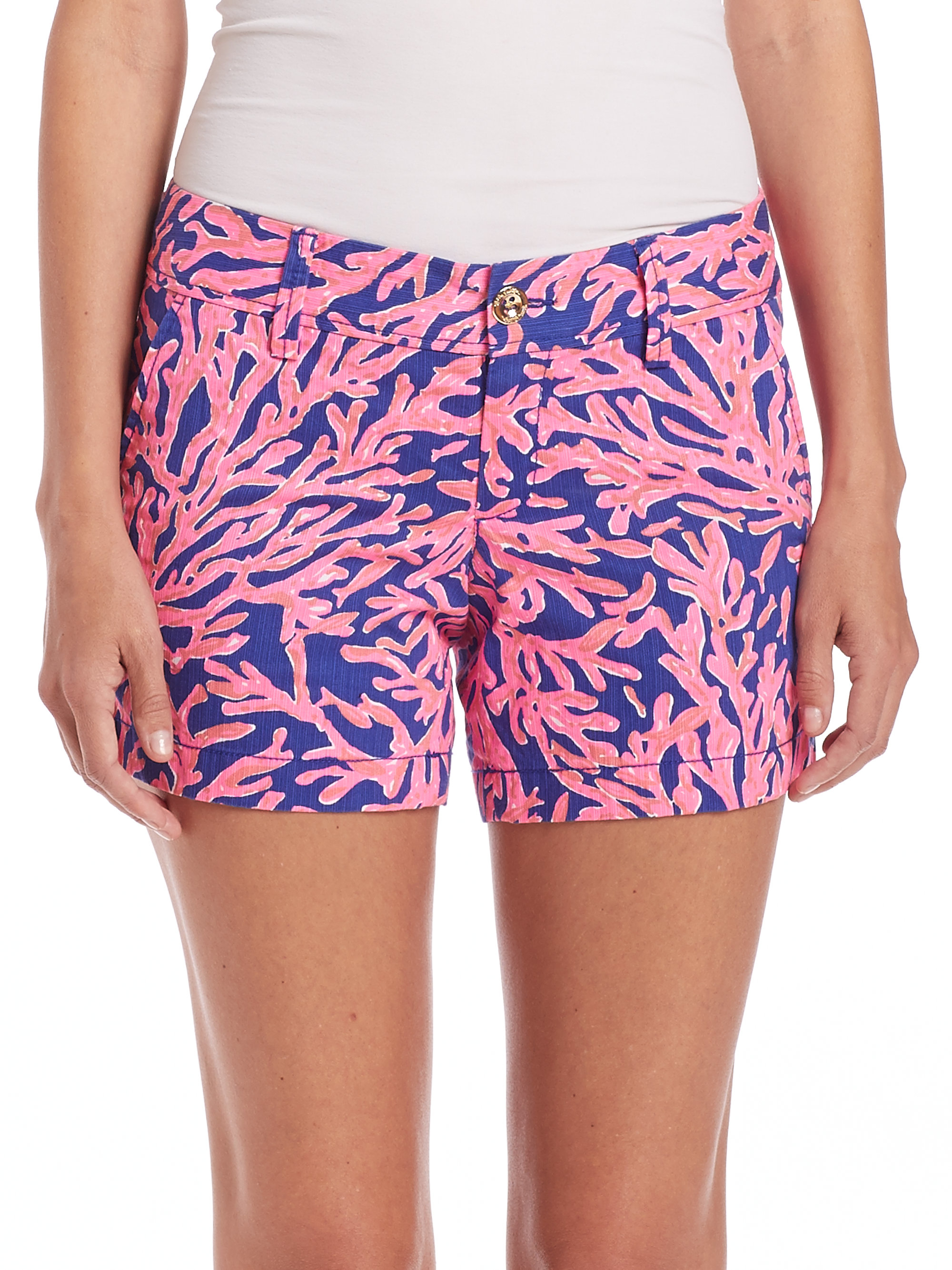 80ad2025ab44e0 Lilly Pulitzer Callahan Coral-print Shorts in Blue - Lyst