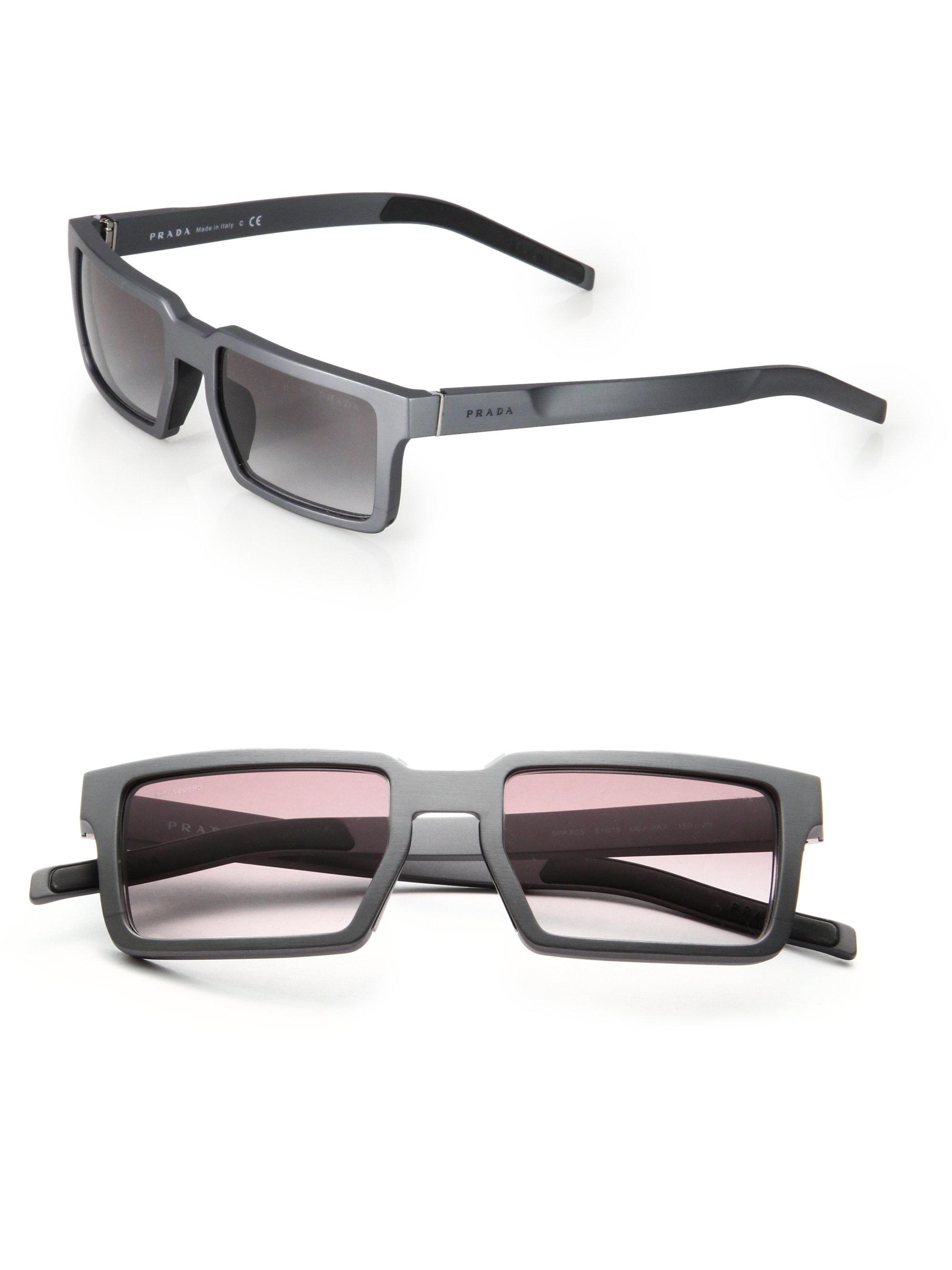 Aluminum Sunglasses  prada 51mm rectangle aluminum sunglasses in gray for men lyst