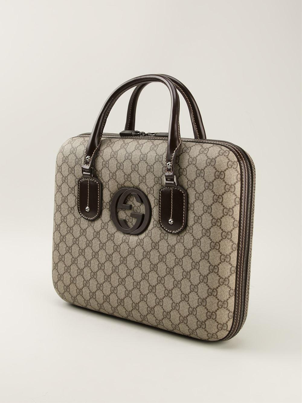 880c034ffd9 Lyst - Gucci Signature Monogram Laptop Bag in Natural