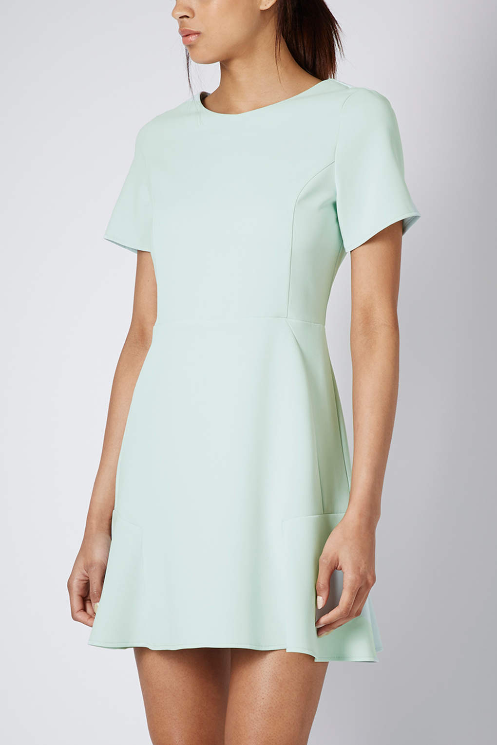 Lyst Topshop Fit And Flare Crepe Dress In Green