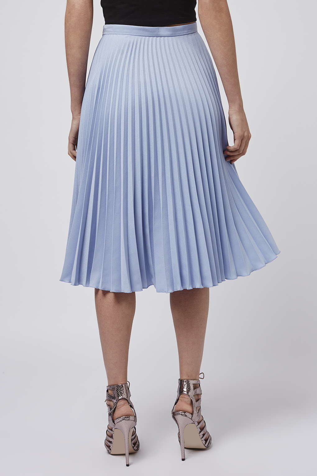 Topshop Petite Pleated Midi Skirt in Blue | Lyst