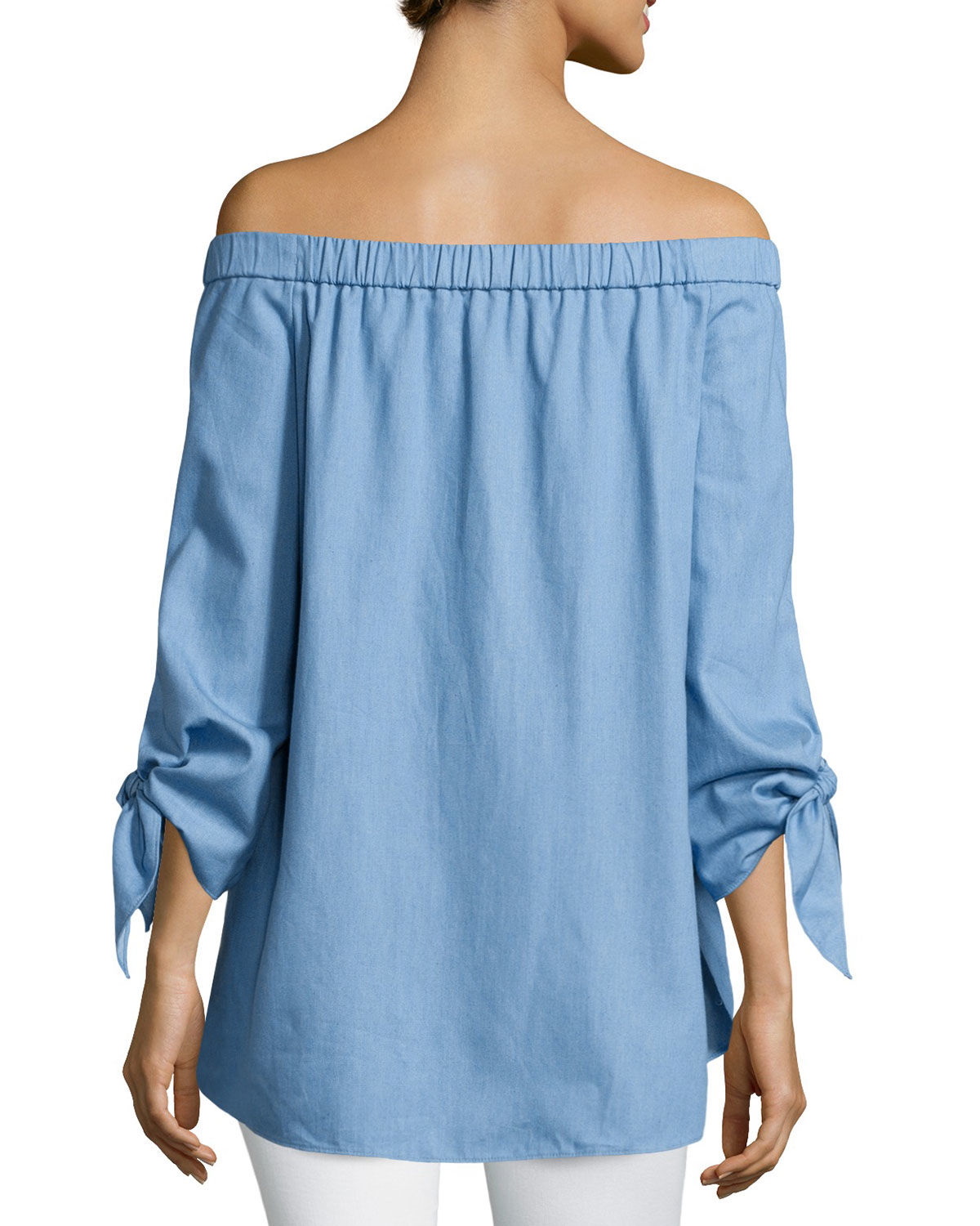 3abc84cdea92f9 Tibi Tie-sleeve Chambray Off-the-shoulder Tunic in Blue - Lyst