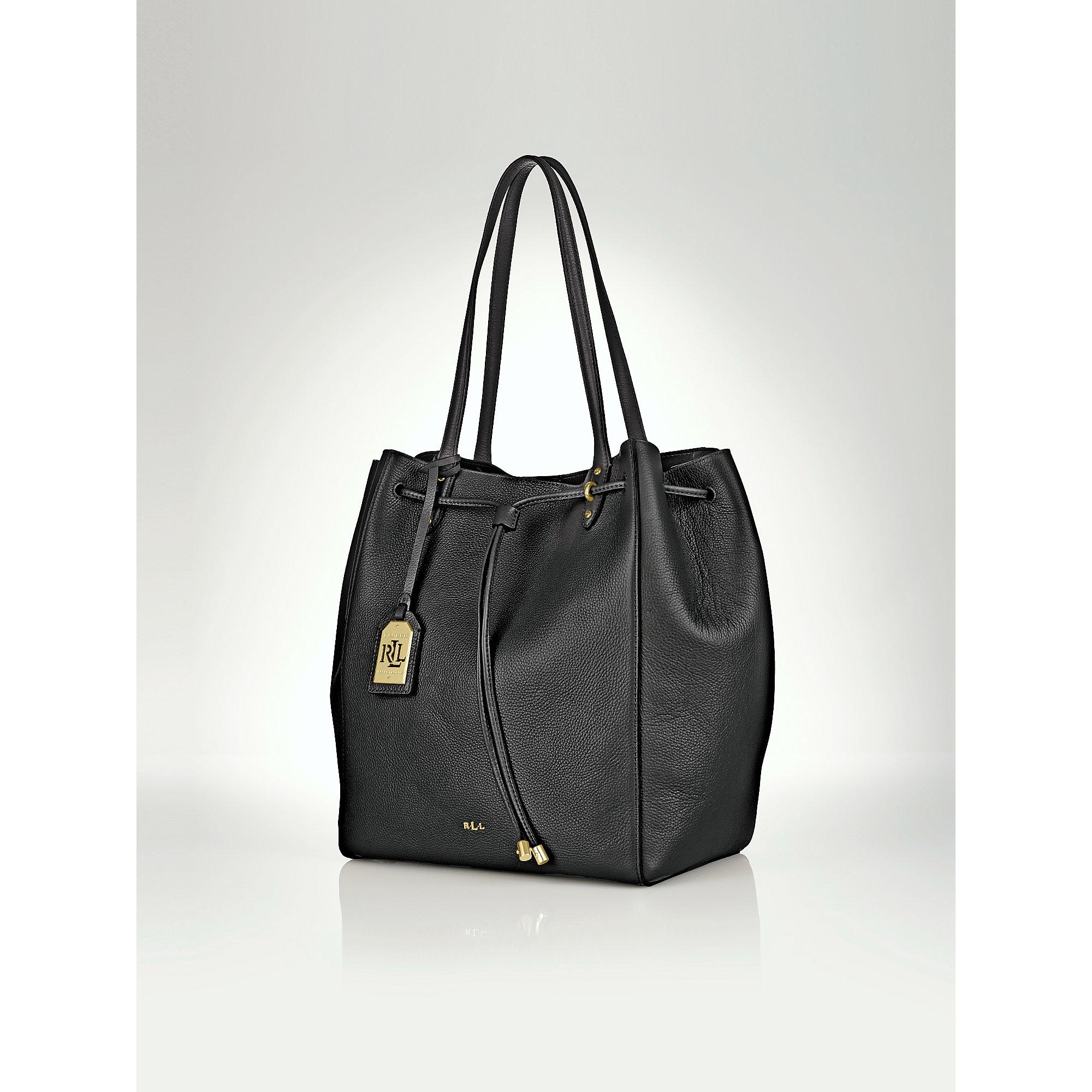 f5a17de892a70 Lyst - Ralph Lauren Oxford Leather Tote in Black