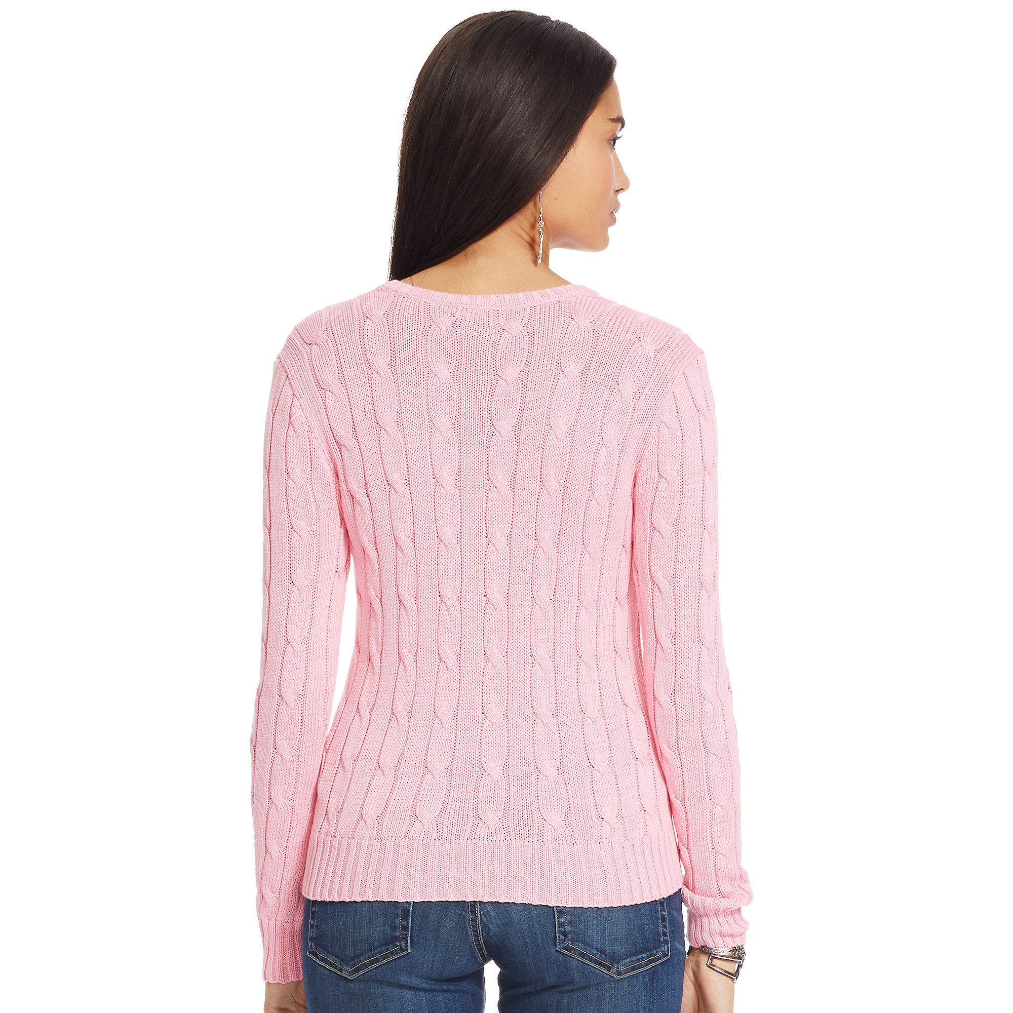 Polo Ralph Lauren Cable Knit V Neck Sweater In Pink Lyst