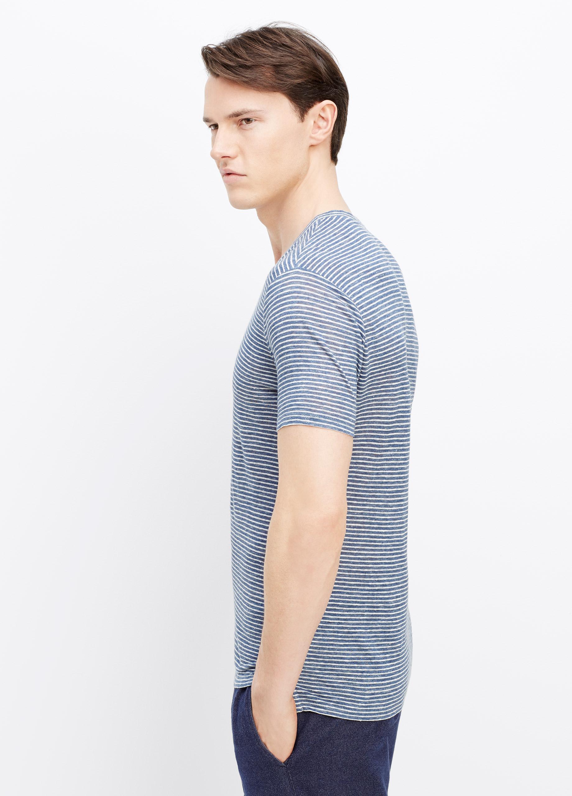 Vince Linen Stripe Short Sleeve V Neck Tee In Blue For Men