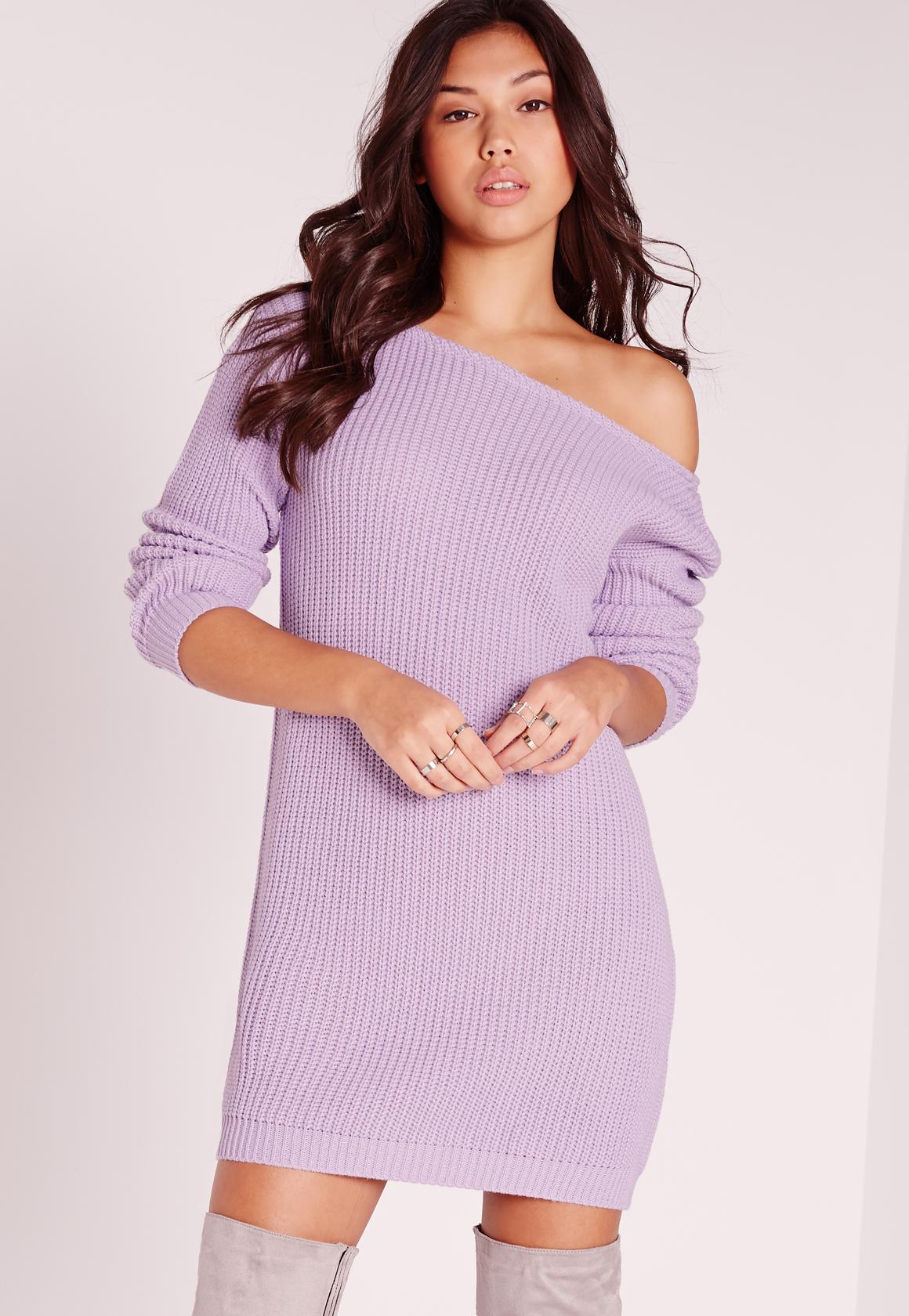 missguided off shoulder slash neck jumper dress lilac in