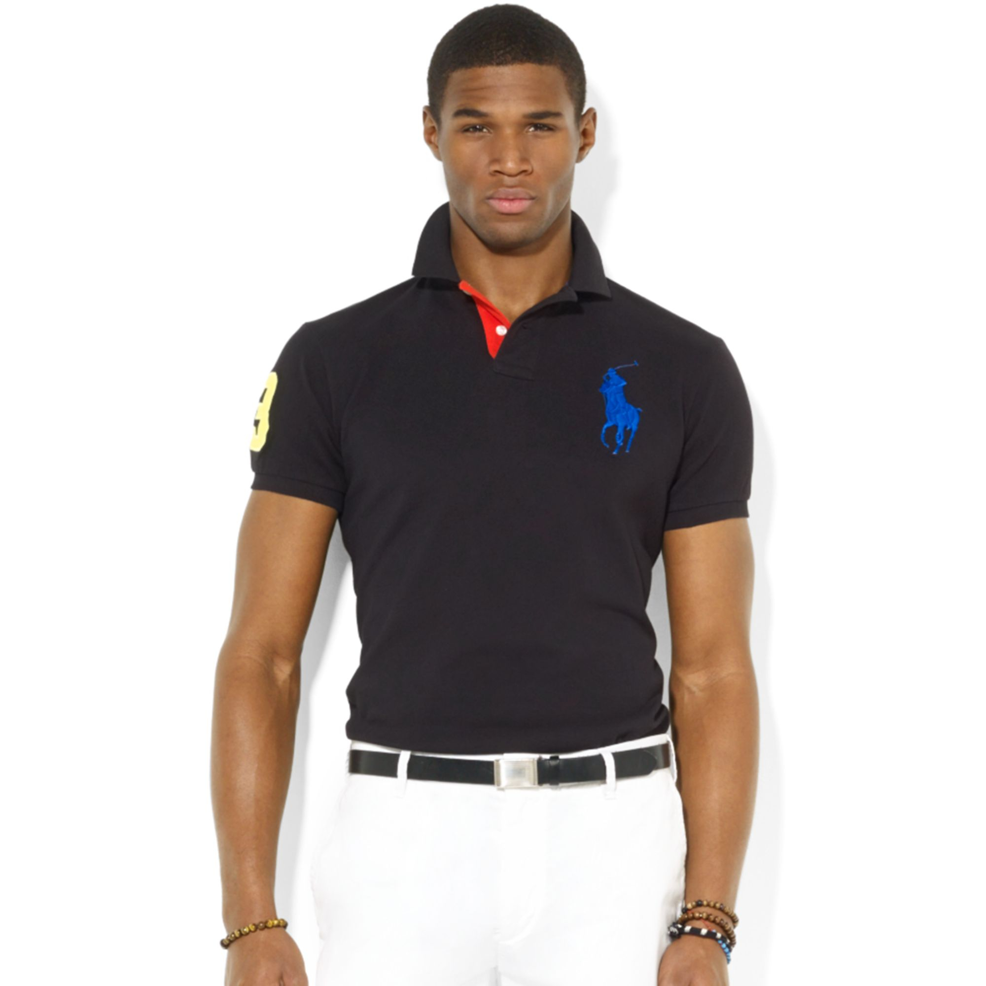cead10ed Polo Ralph Lauren Polo Customfit Big Pony Mesh Polo in Black for Men ...