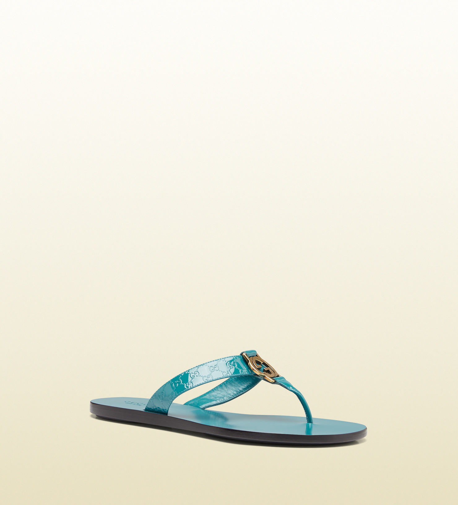 e06479b26da5 Lyst - Gucci Gg Thong Patent Leather Sandal in Blue