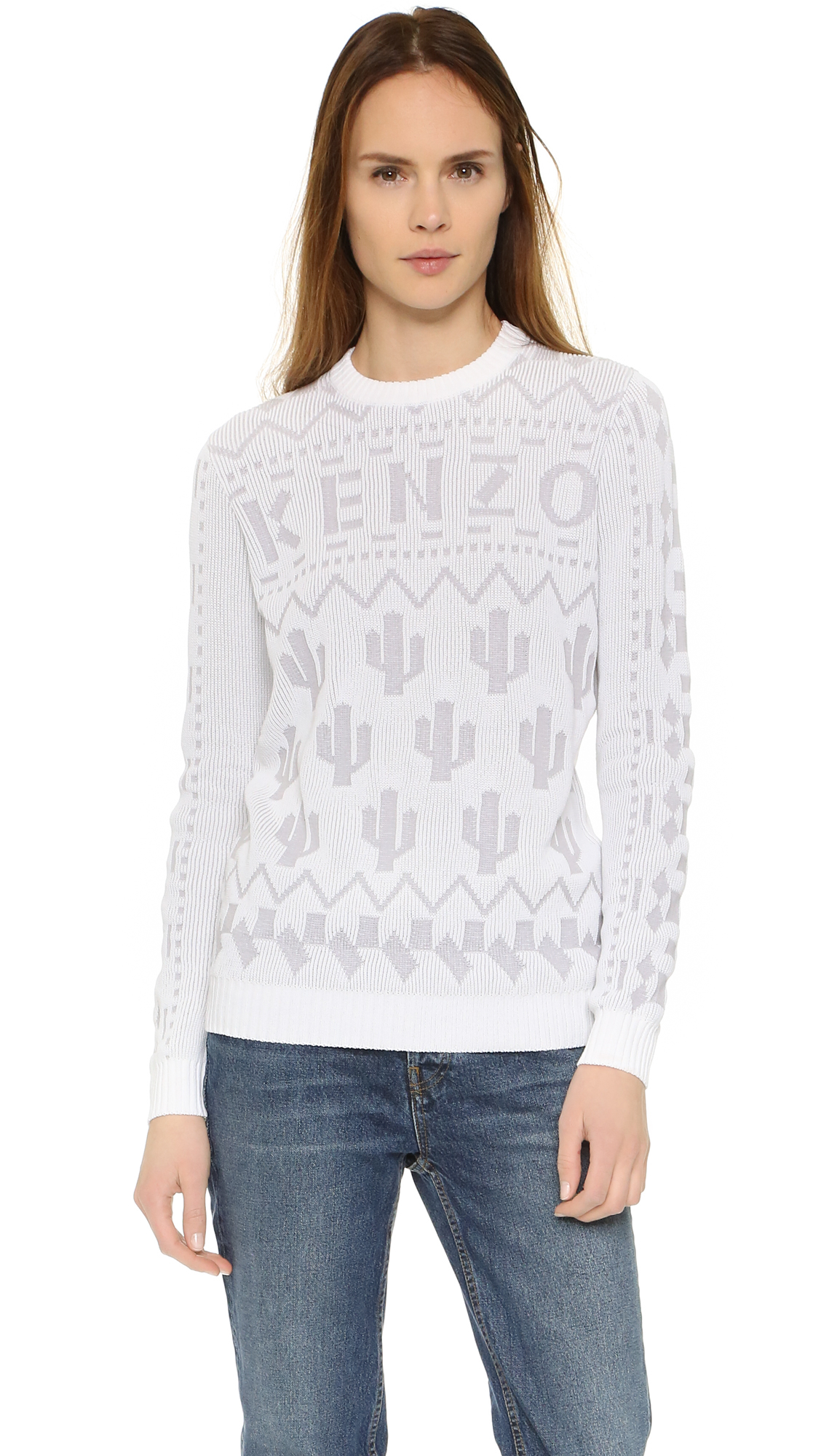 kenzo multi stitch sweater in white lyst. Black Bedroom Furniture Sets. Home Design Ideas