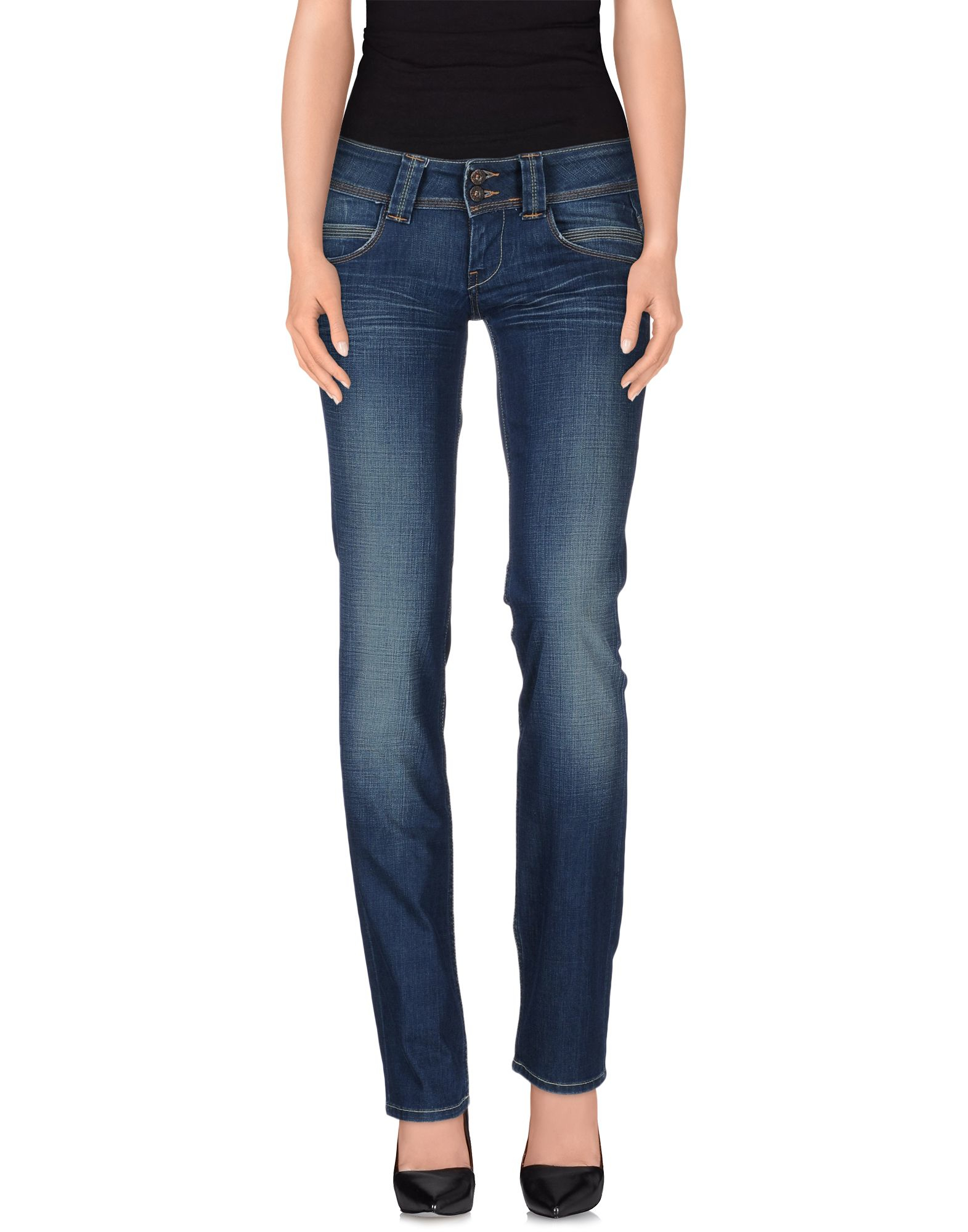 lyst pepe jeans denim trousers in blue. Black Bedroom Furniture Sets. Home Design Ideas