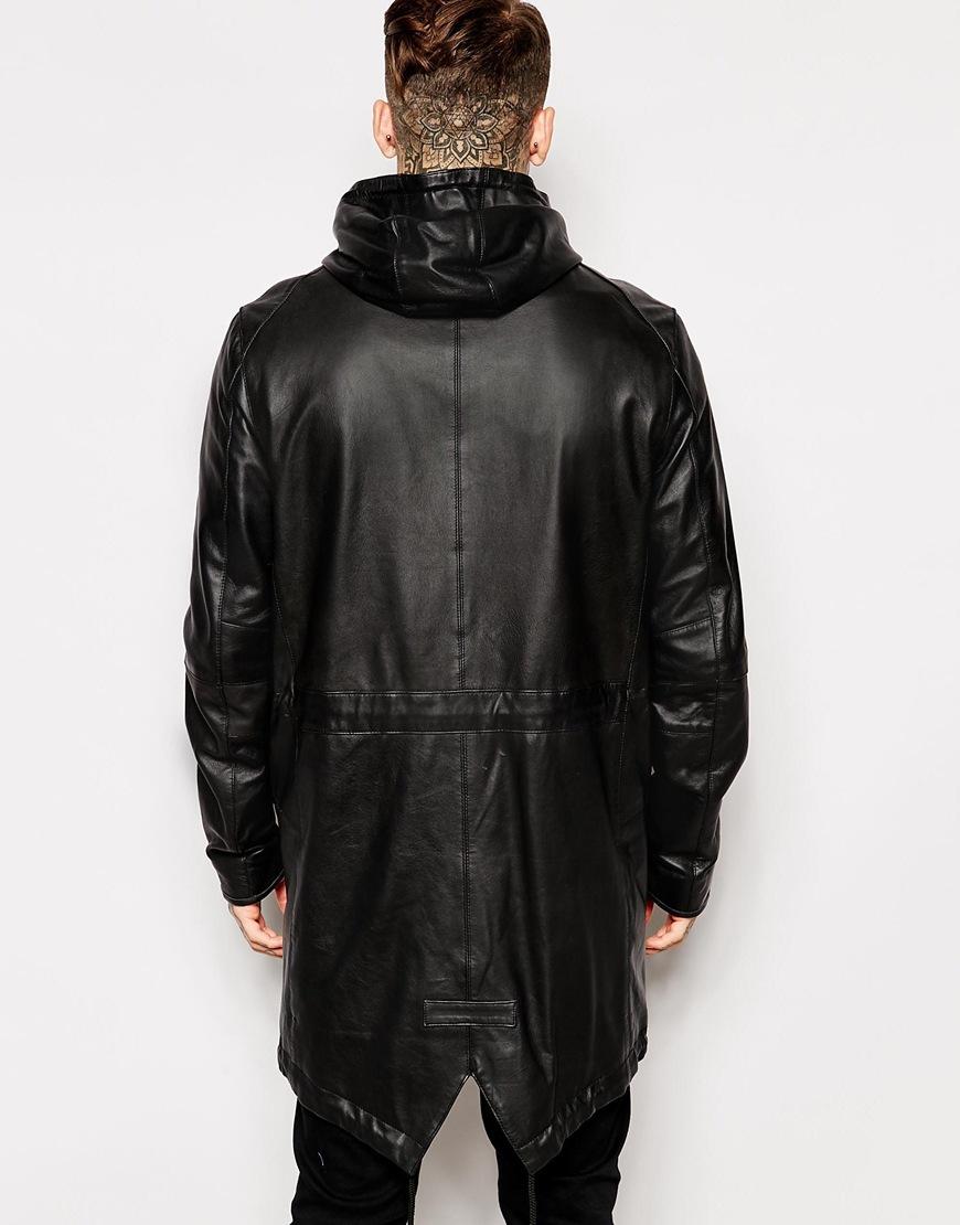 Asos Leather Parka Jacket In Black in Black for Men | Lyst