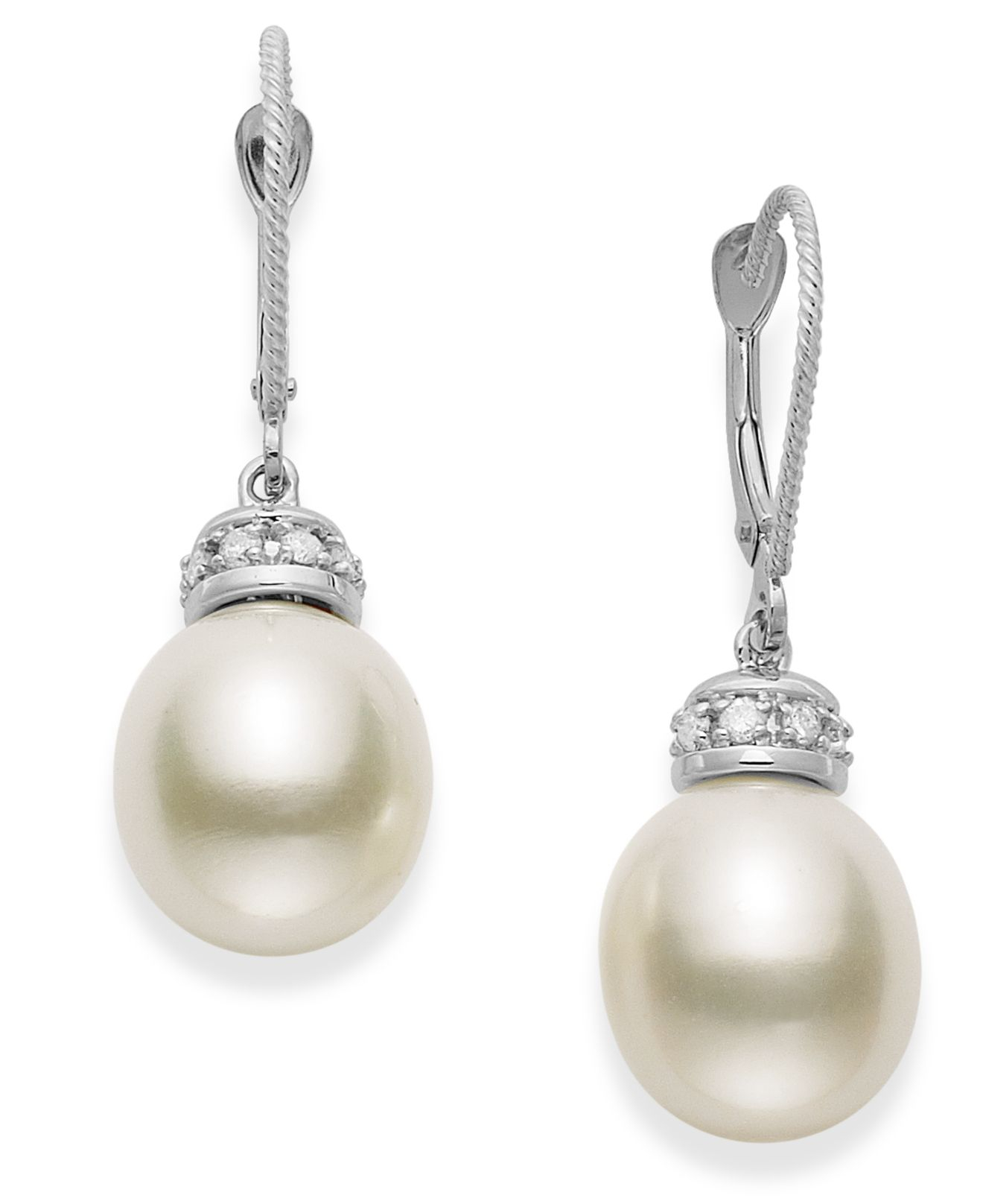 macy s pearl earrings macy s 14k white gold earrings cultured freshwater pearl 7197