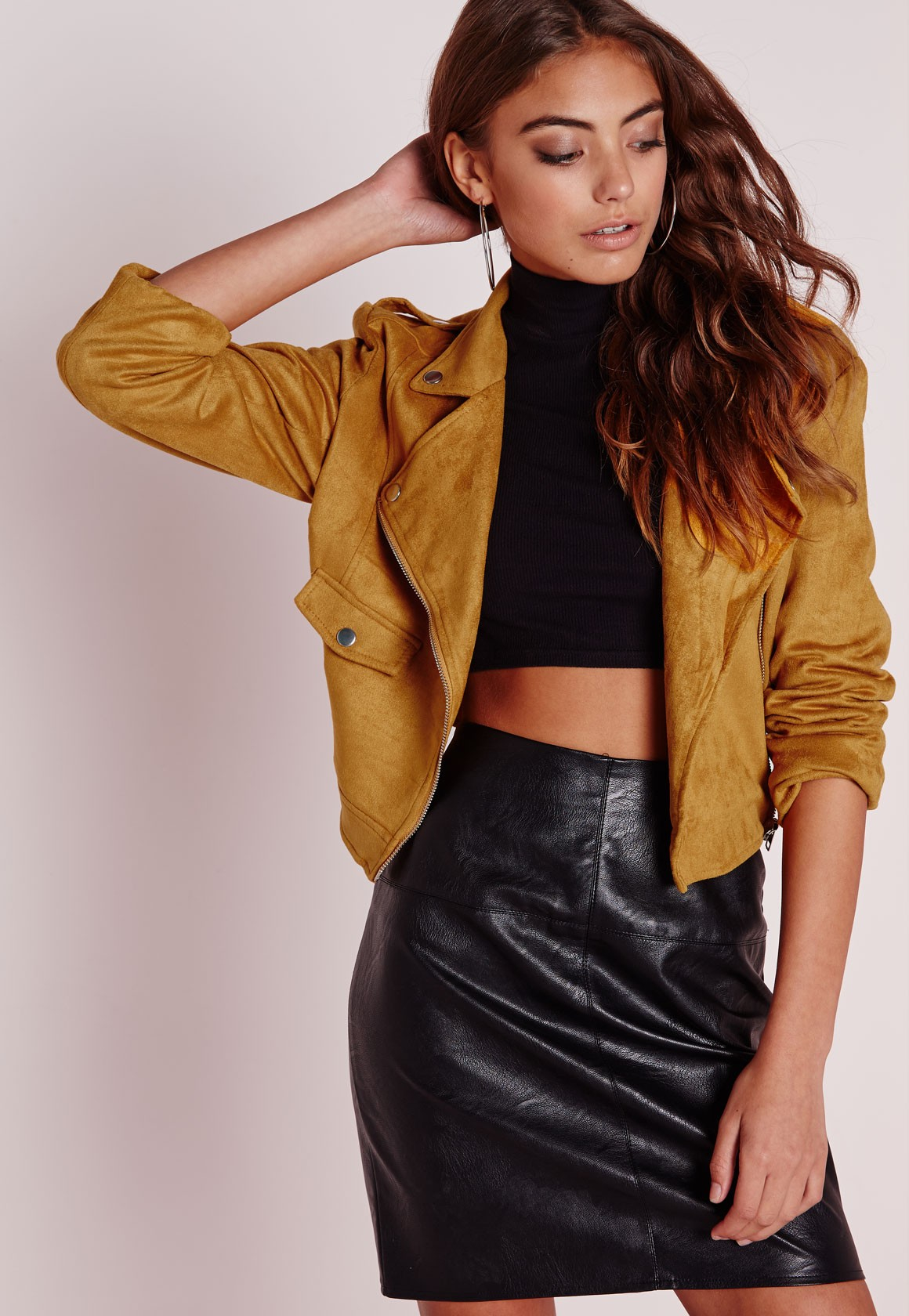 Missguided Faux Suede Belted Biker Jacket Mustard in Yellow | Lyst