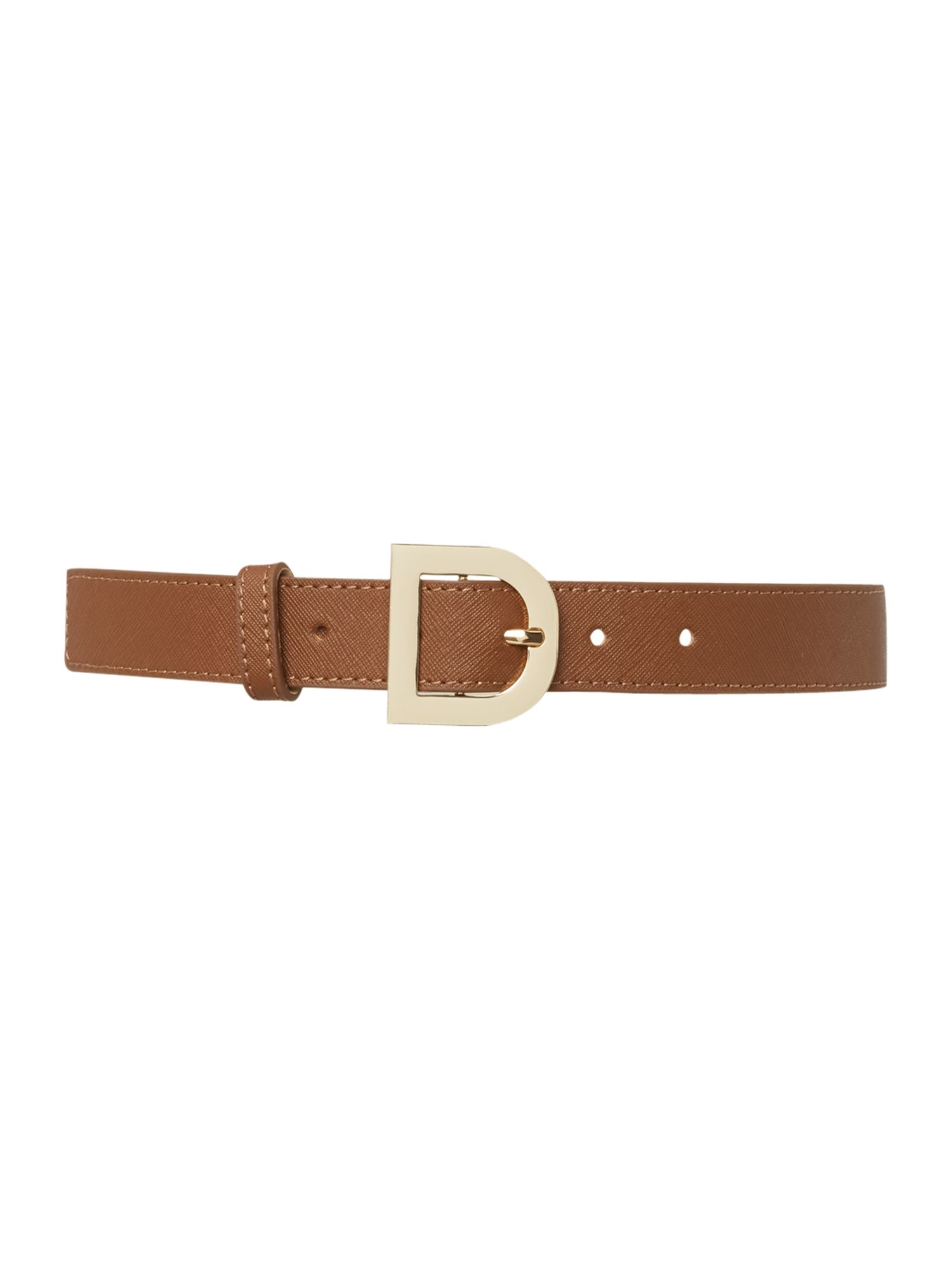 dkny saffiano leather brown belt with d ring buckle in