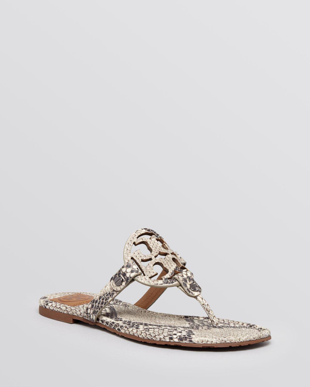 661820cd9a2 Tory Burch Flat Sandals Miller Roccia Snake Print in Natural - Lyst