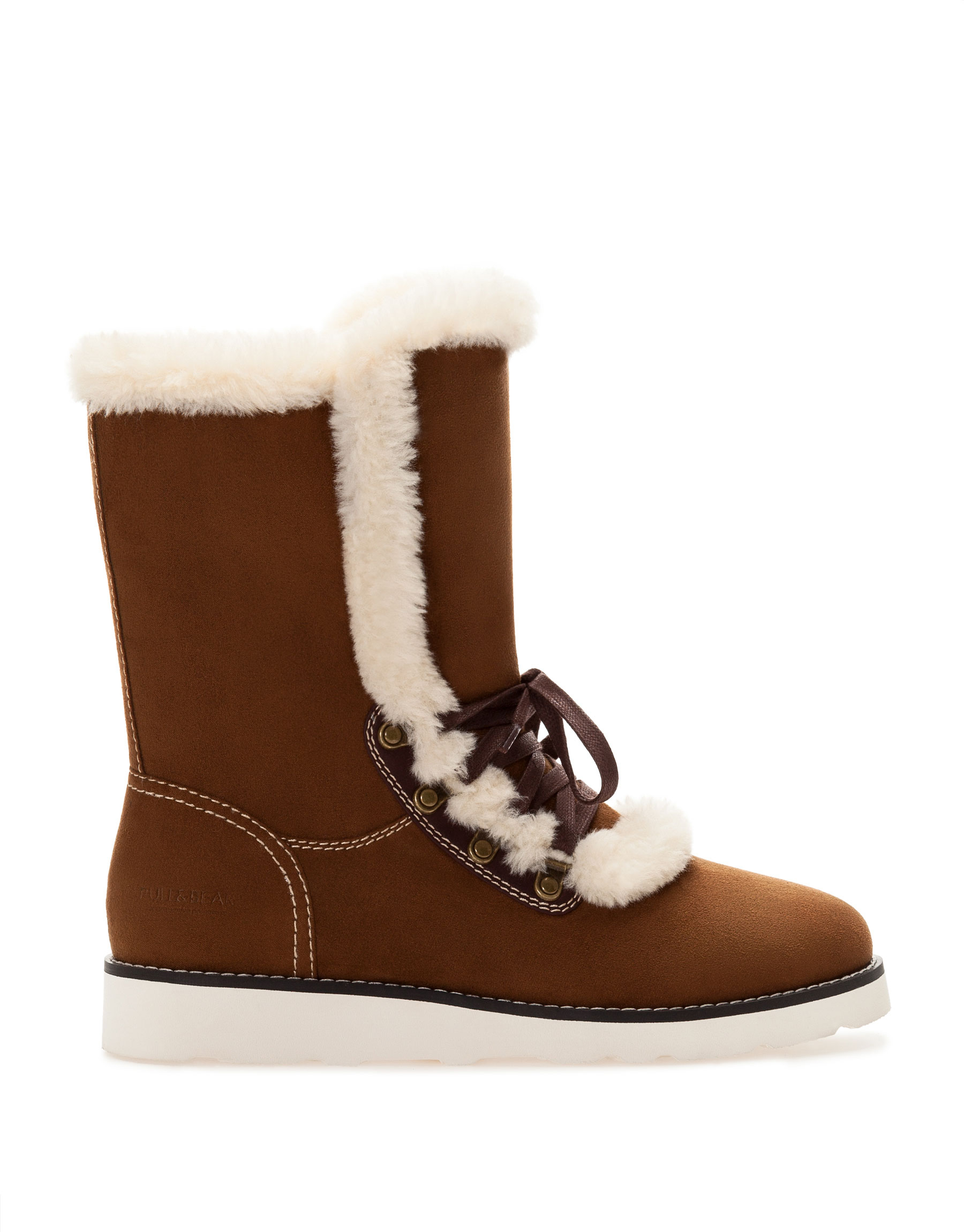 pull lace up ankle boots with fur detail in brown