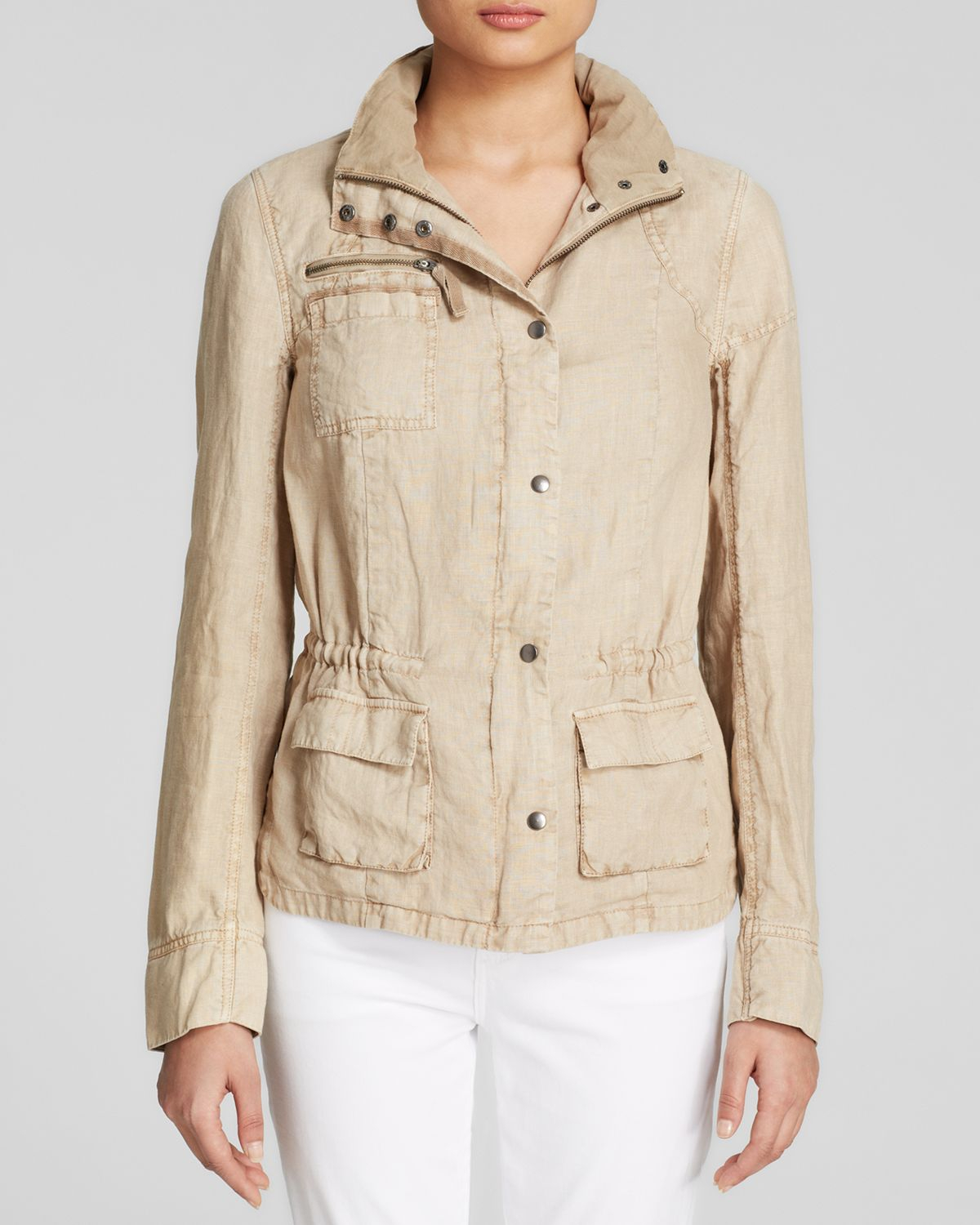 Utility Jacket Jackets And Nike: Three Dots Linen Utility Jacket In Beige (Caribbean Sand