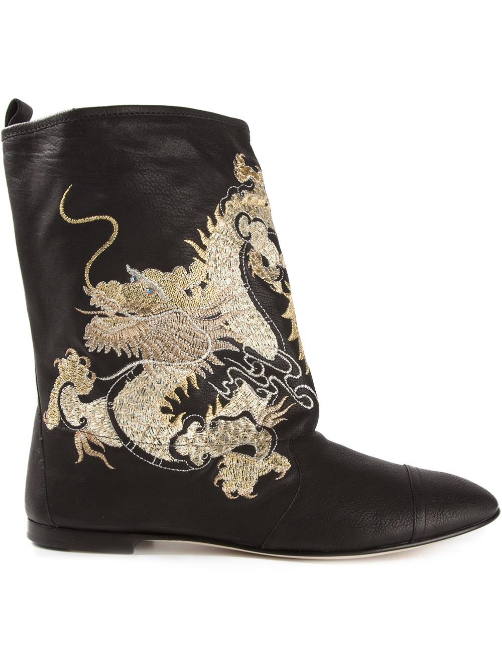 Giuseppe Zanotti Dragon Embroidered Boots In Metallic Lyst