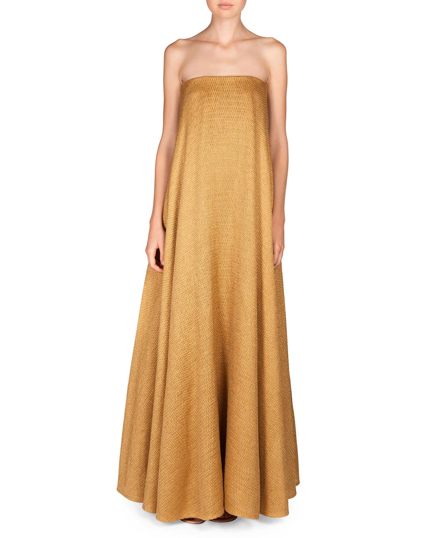 The Row Saliana Linen Blend Net Dress In Metallic Lyst