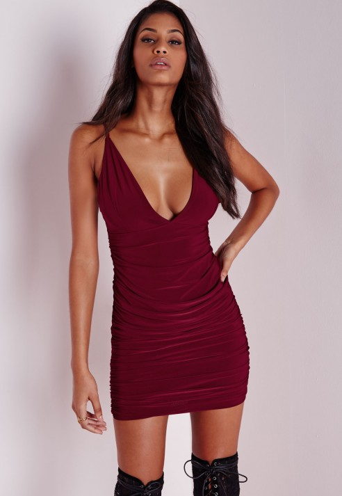 Red Bodycon Dress with Ruche