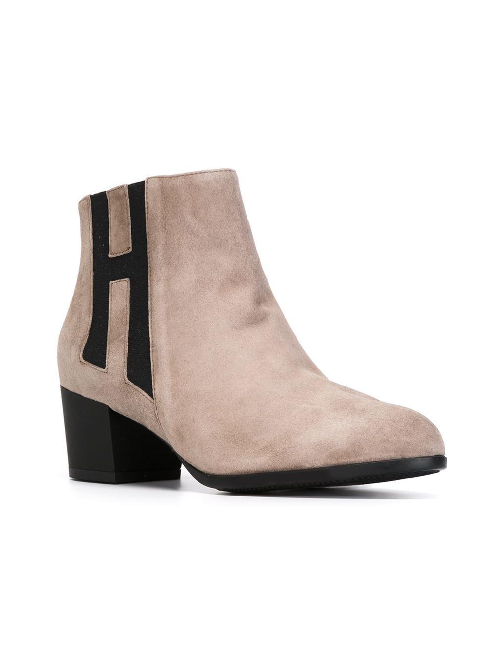 hogan h panel suede ankle boots in beige nude neutrals lyst. Black Bedroom Furniture Sets. Home Design Ideas