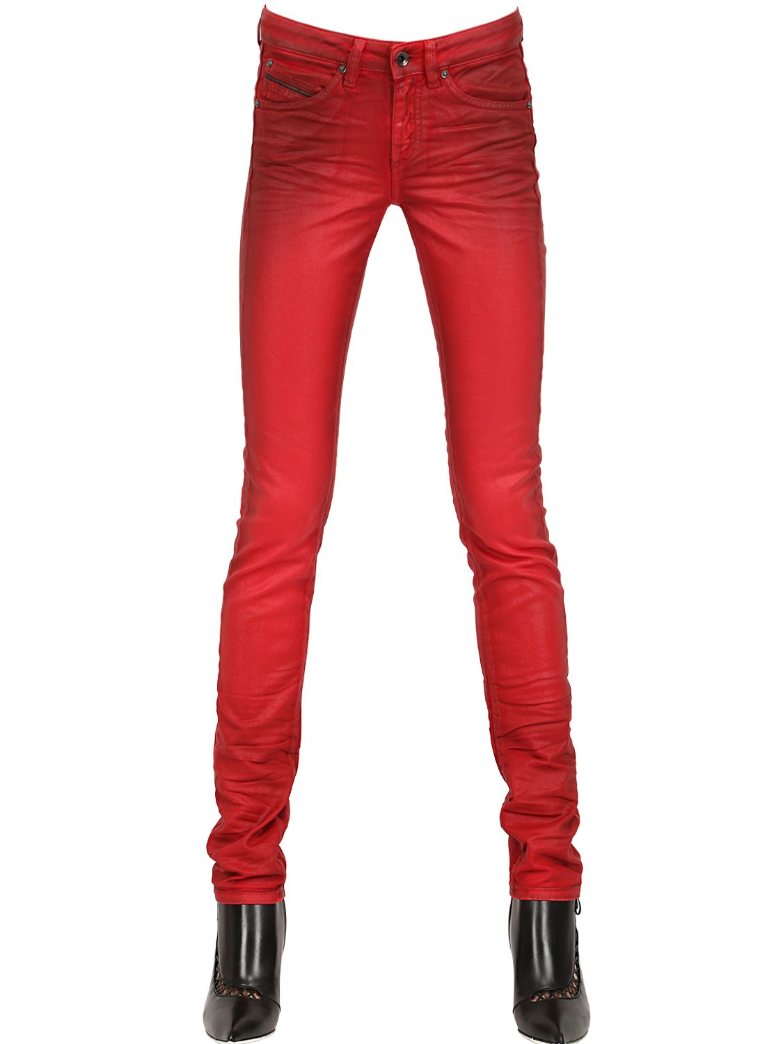 12ae2a7243 Diesel Black Gold Painted Stretch Shiny Denim Jeans in Red - Lyst