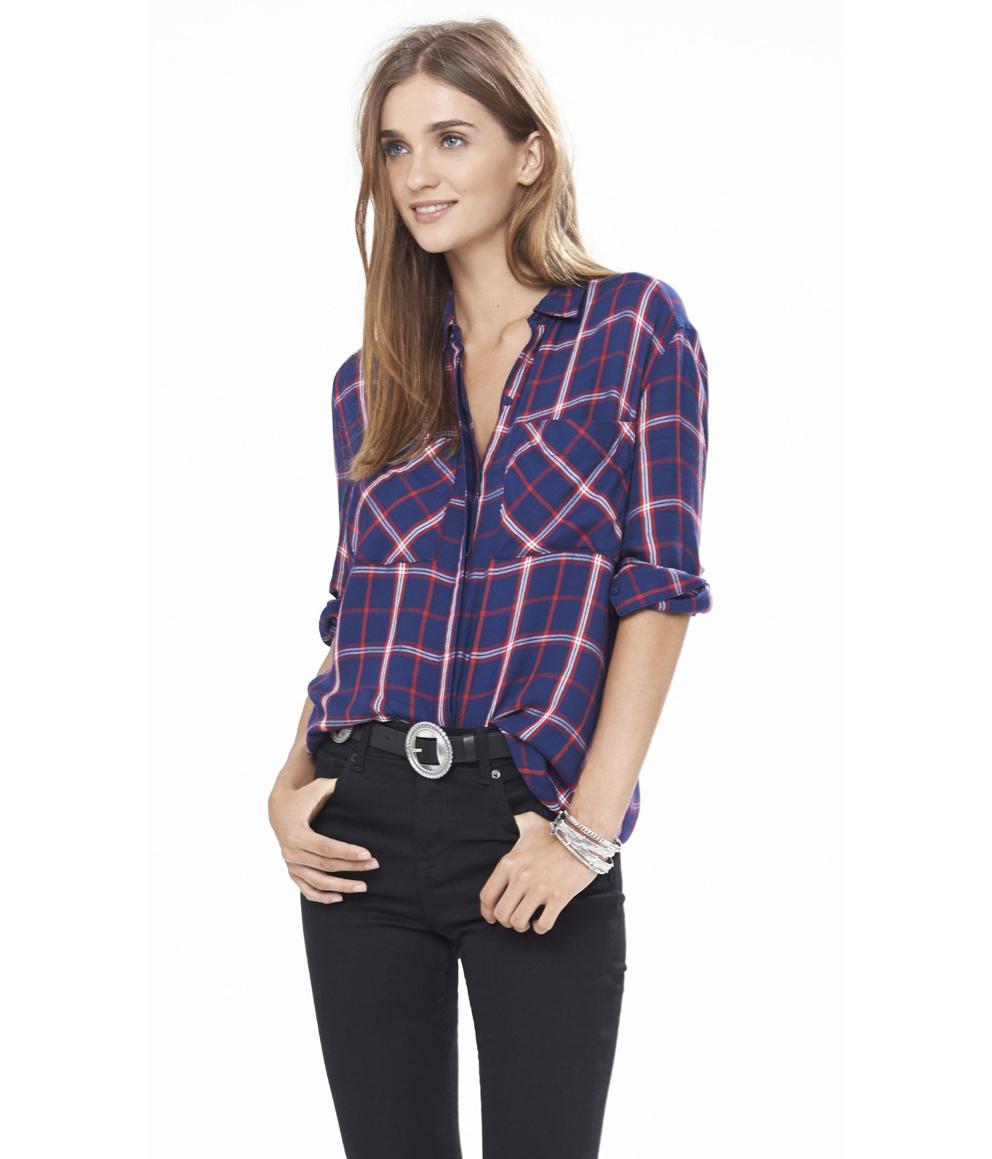 Express Navy Red And White Oversized Plaid Shirt In Blue