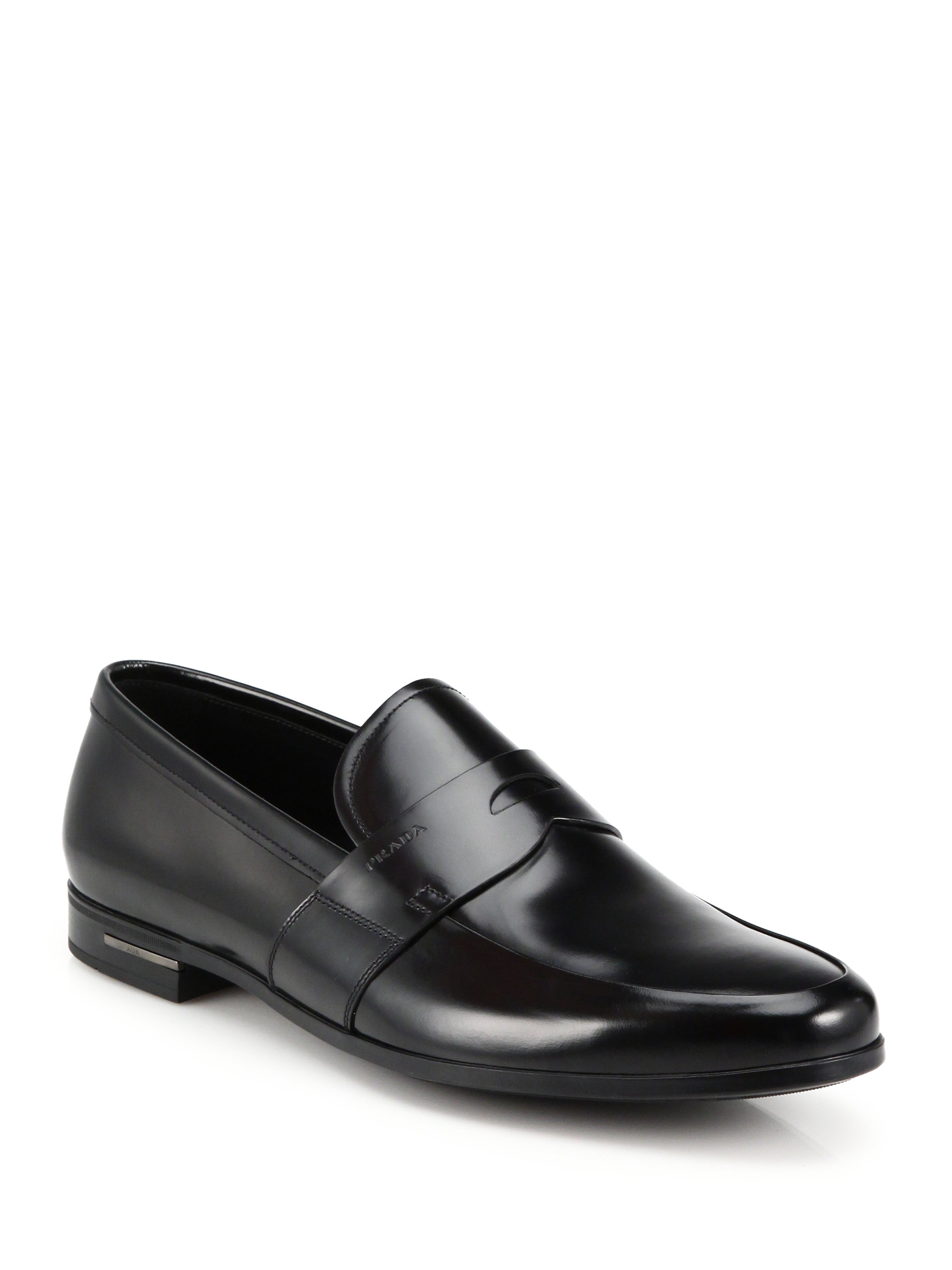 Lyst Prada Spazzolato Leather Penny Loafers In Black For Men