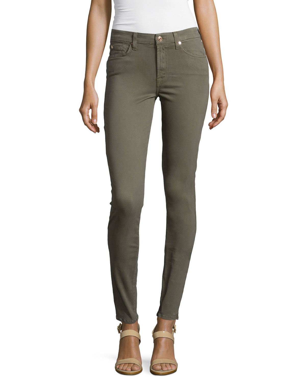 7 for all mankind mid rise skinny jeans in gray lyst. Black Bedroom Furniture Sets. Home Design Ideas