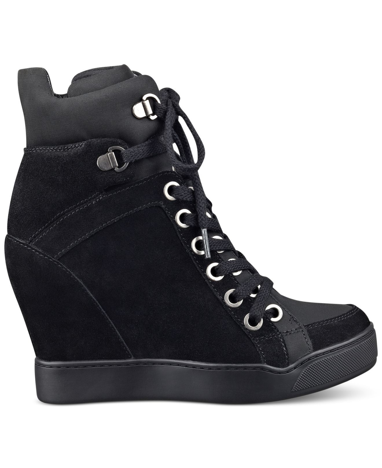 lyst guess womens matty wedge sneakers in black