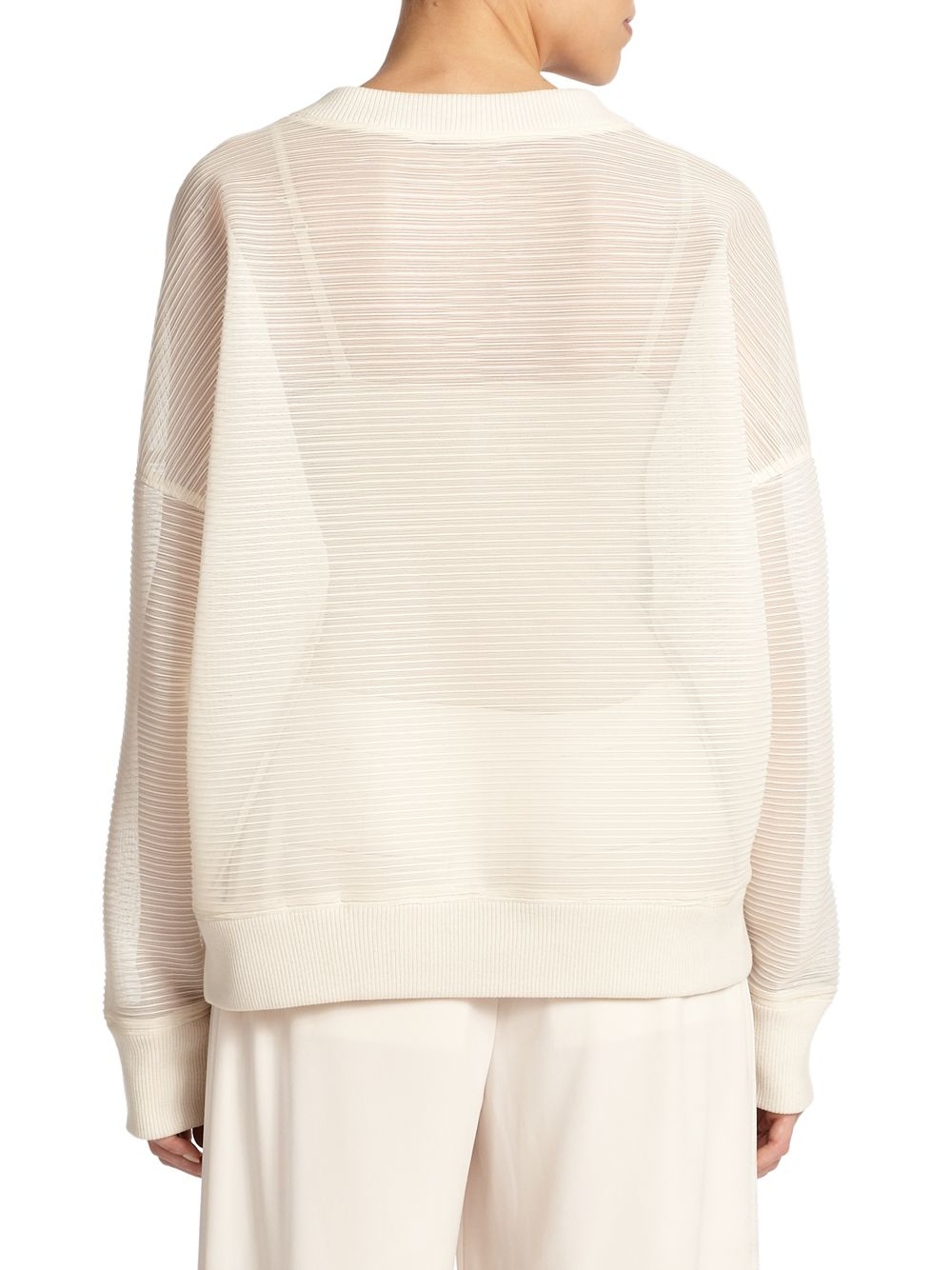 Dkny Oversized Ribbed Sweater in White | Lyst