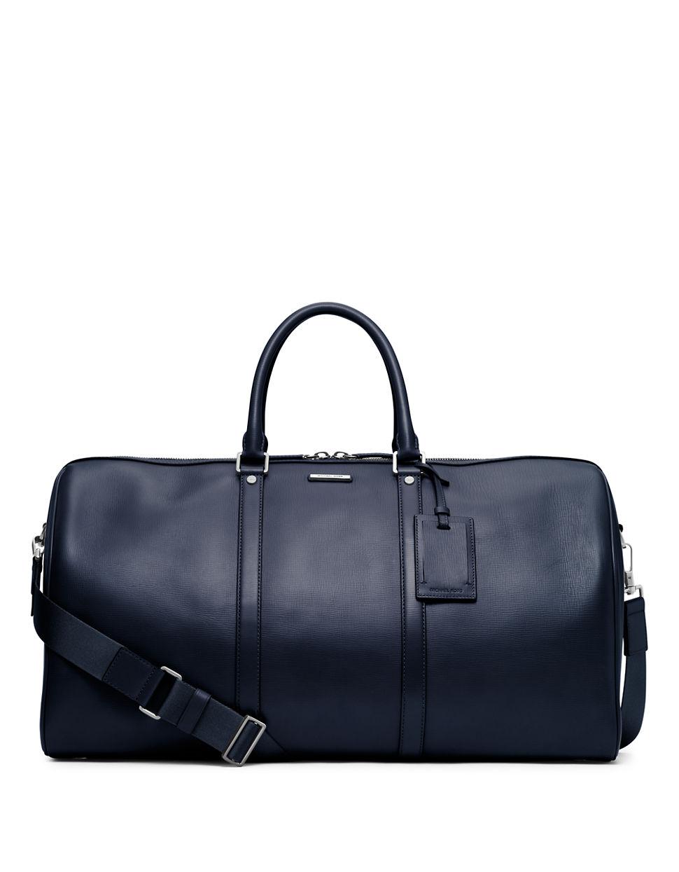 michael kors warren leather travel duffel bag in blue for