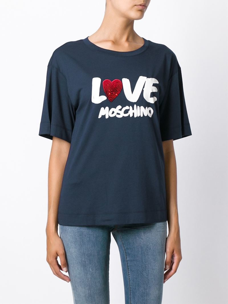 love moschino print t shirt in blue lyst. Black Bedroom Furniture Sets. Home Design Ideas