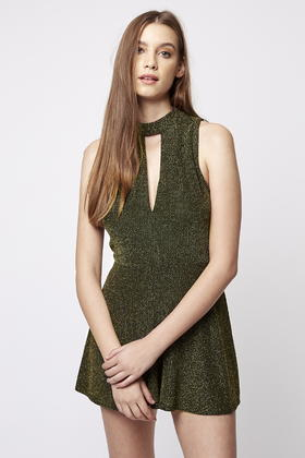 1d61159ad87c Lyst - TOPSHOP Plunge Front Playsuit in Green