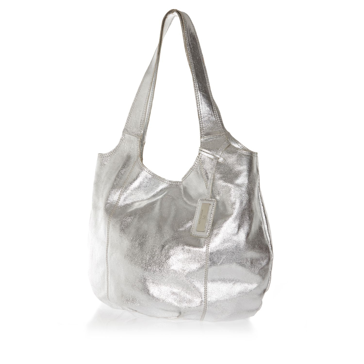 River Island Silver Metallic Leather Slouch Bag Lyst