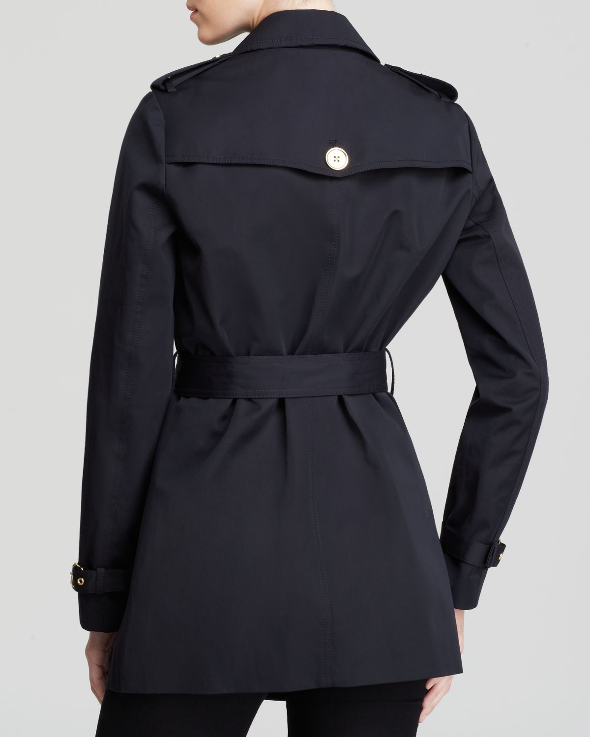 Michael michael kors Short Trench Coat in Blue | Lyst