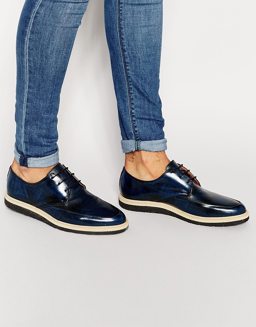 Kurt Geiger KG By Kurt Geiger Woven Lace Up Shoes In Navy Leather TOwpsc