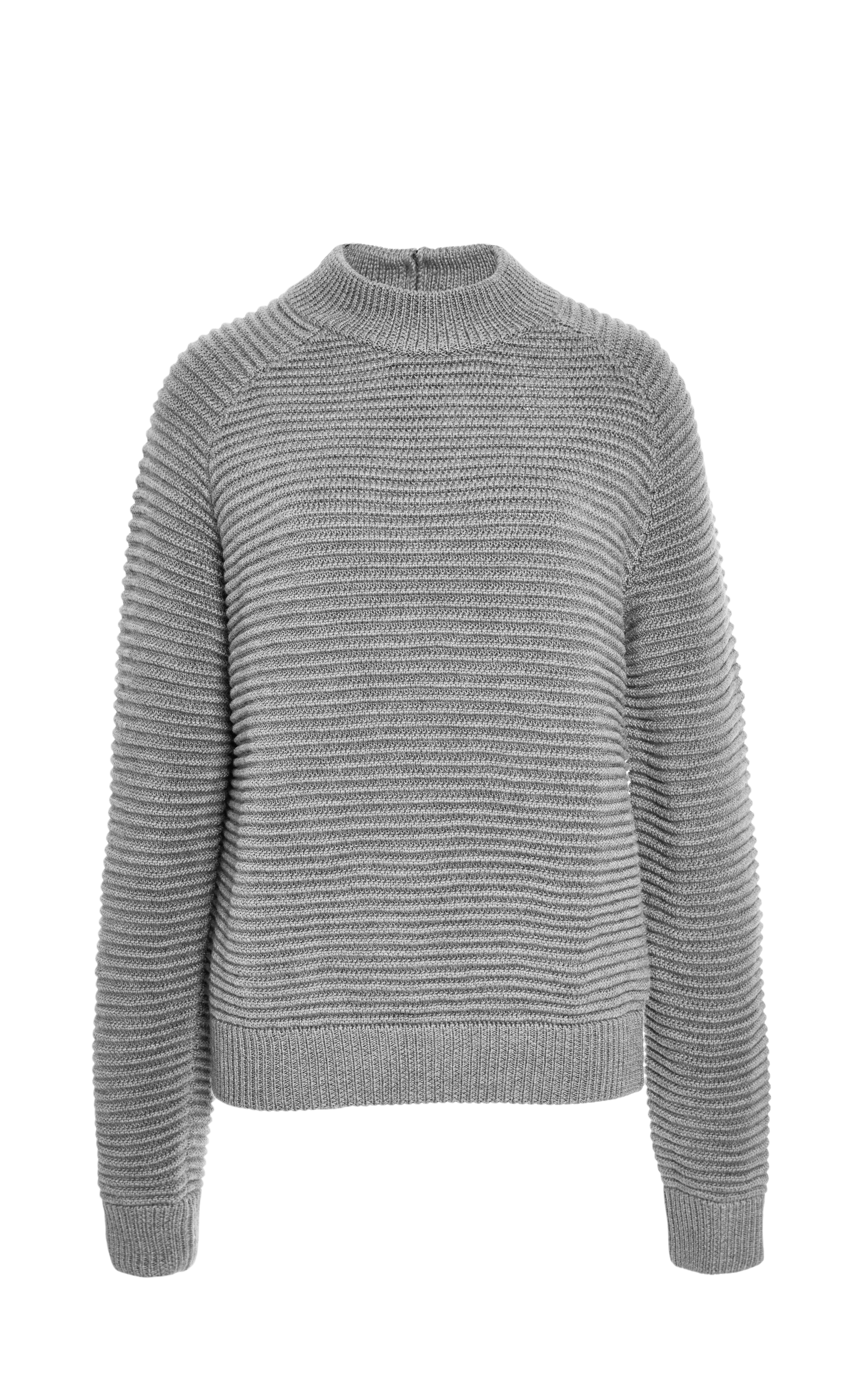 Carven Chunky Ribbed Wool Sweater in Gray | Lyst