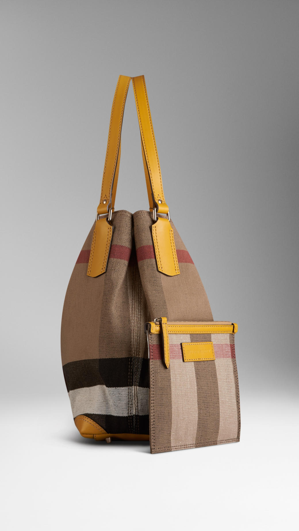 Burberry Medium Canvas Check Tote Bag in Yellow