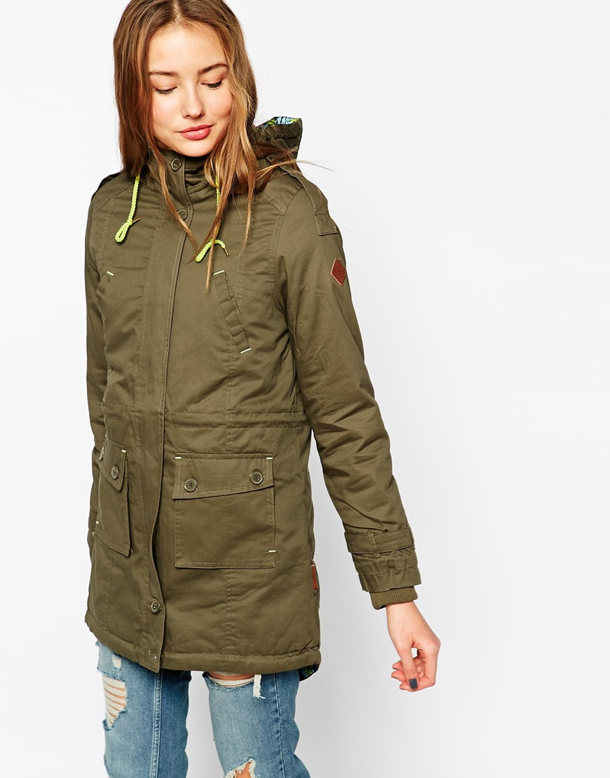 Bellfield Hooded Parka Jacket With Contrast Lining in Natural | Lyst