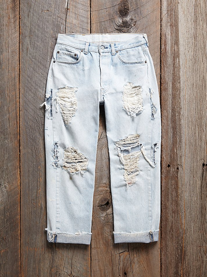 Free people Vintage Destroyed Levis Jeans in Blue | Lyst
