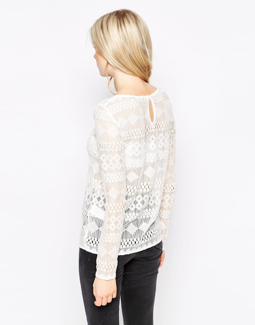 902cd268d11ba Lyst - Vila Long Sleeve Lace Top in White