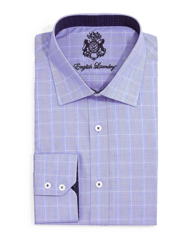 english laundry glen check dress shirt in blue for men lyst