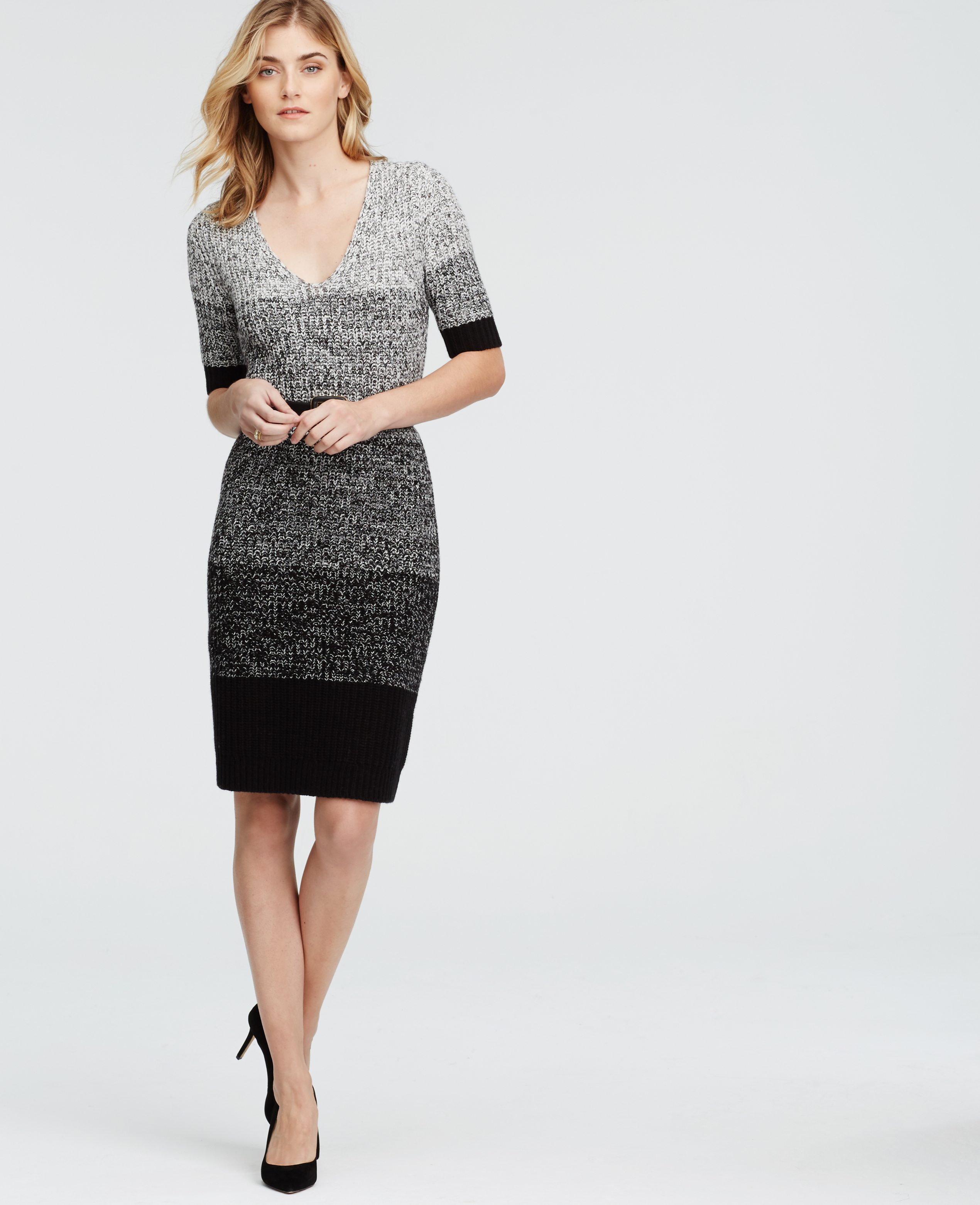 1798ea4ac6 Ann Taylor Ombre Marled Sweater Dress in Black - Lyst