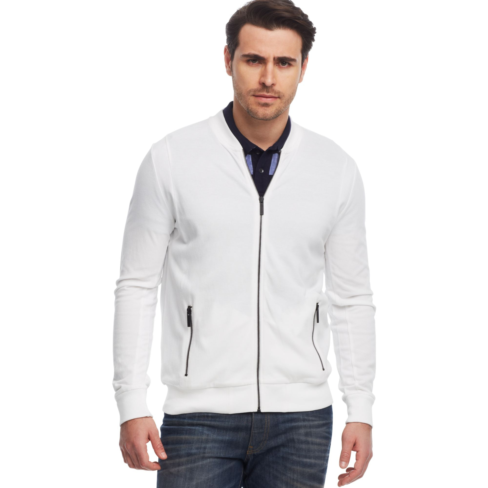 Kenneth cole New York Pique Baseball Jacket in White for Men | Lyst