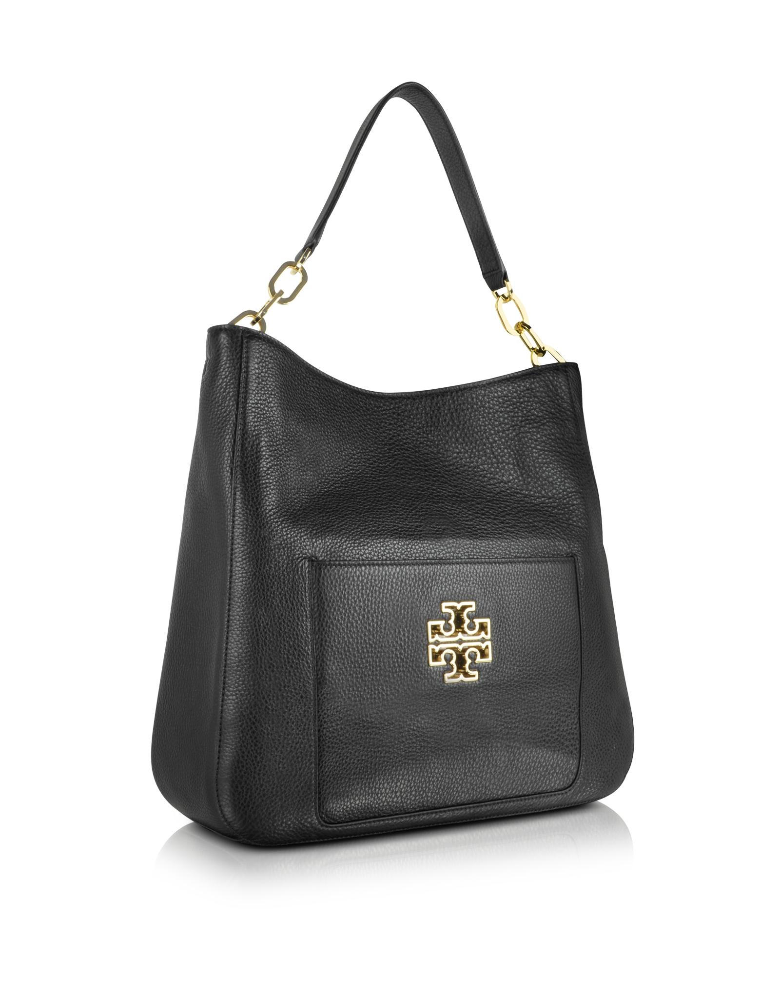 Lyst - Tory Burch Britten Leather Hobo Bag in Black 9a610e568c