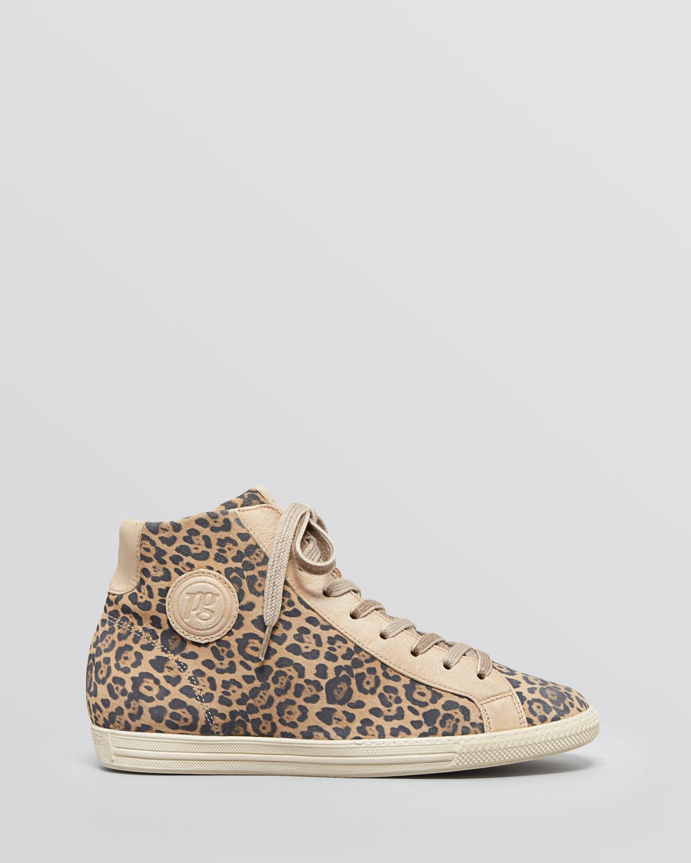 Paul Green Lace Up High Top Sneakers - Venus Leopard Print in Grey
