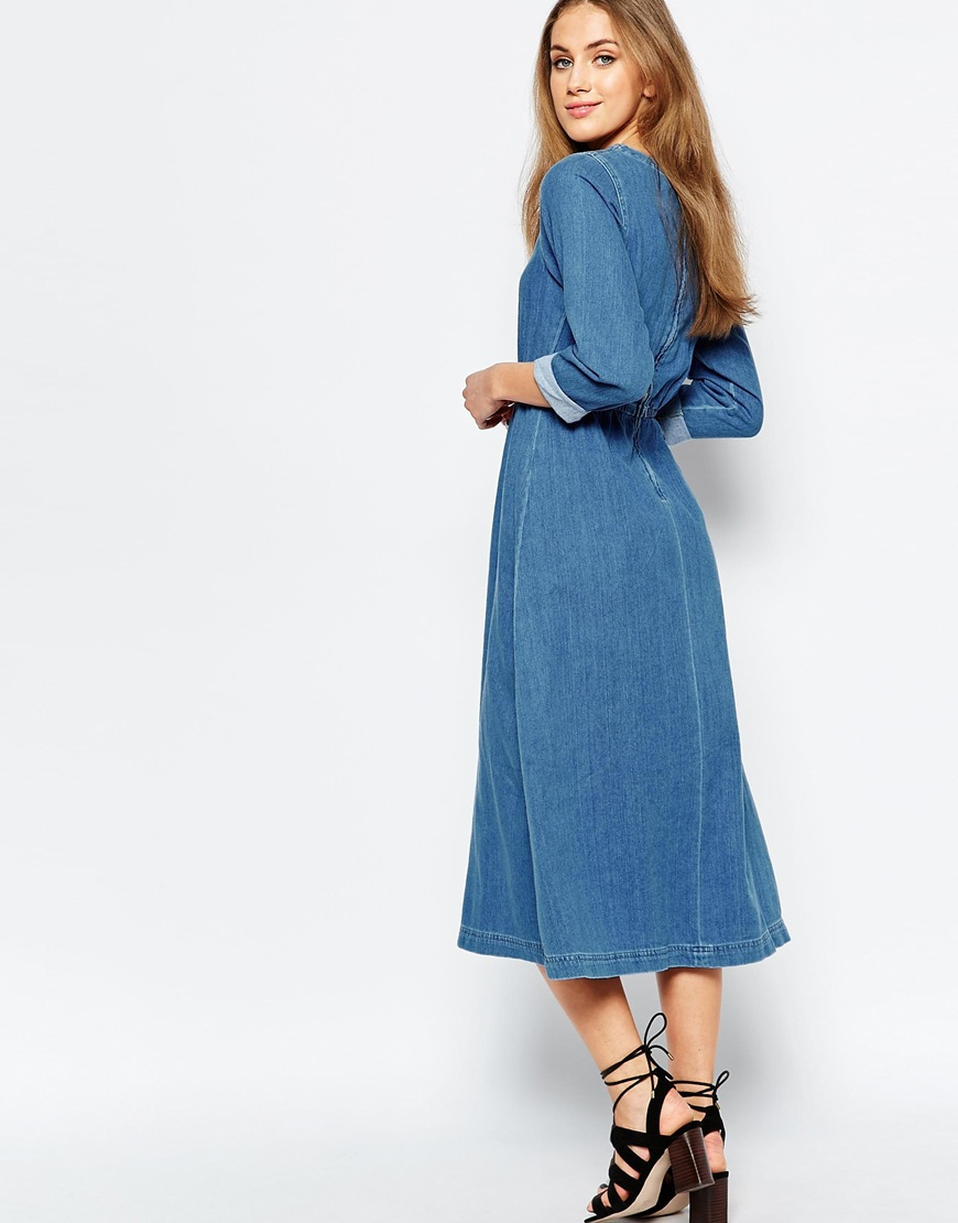 Lyst Warehouse Denim Midi Dress In Blue